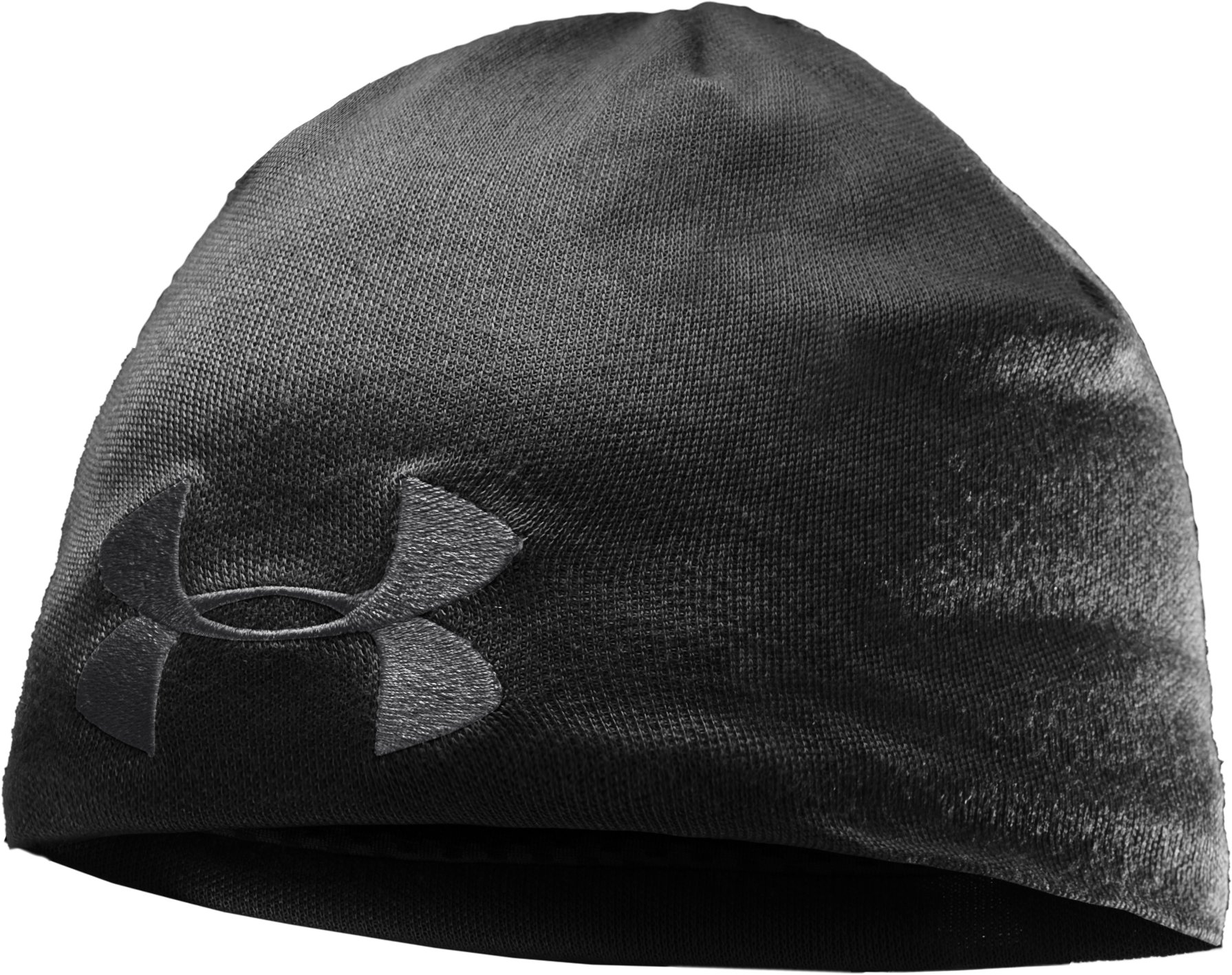 Men's Solid Active Beanie, Black , zoomed image