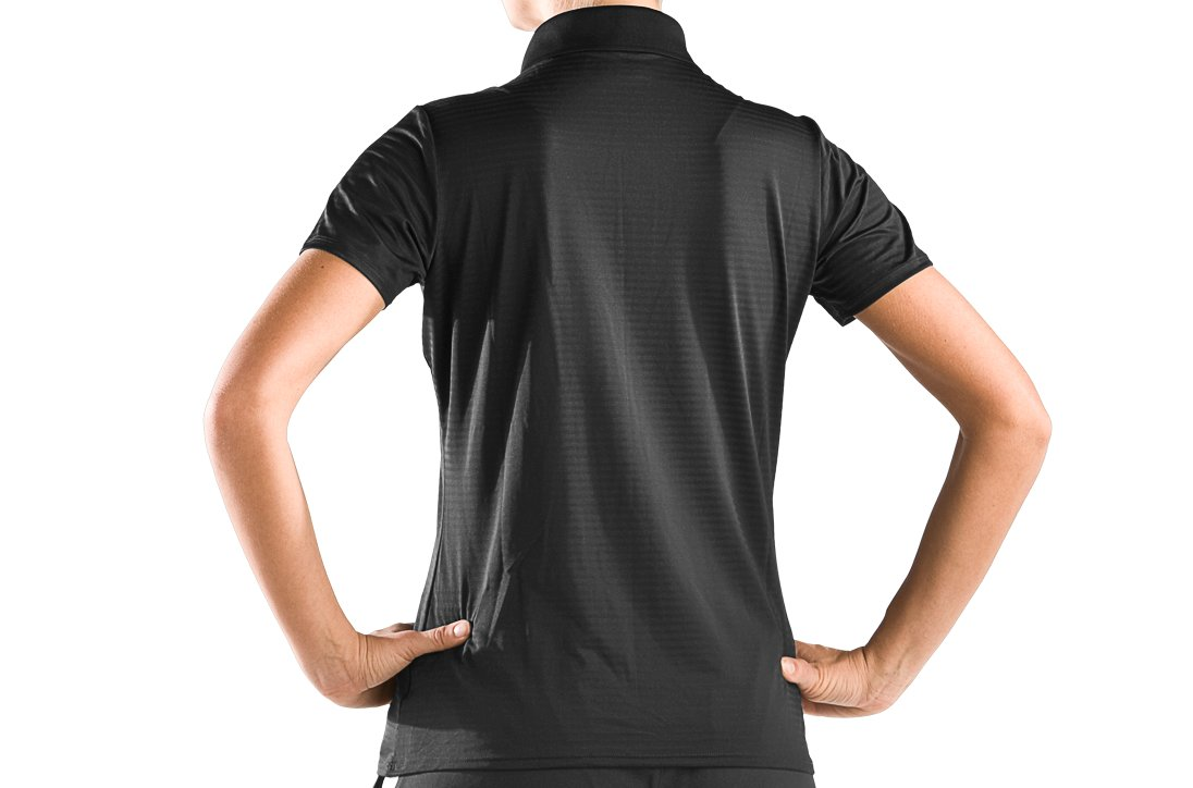 Women's UA Catalyst Team Short Sleeve Polo, Black , zoomed image