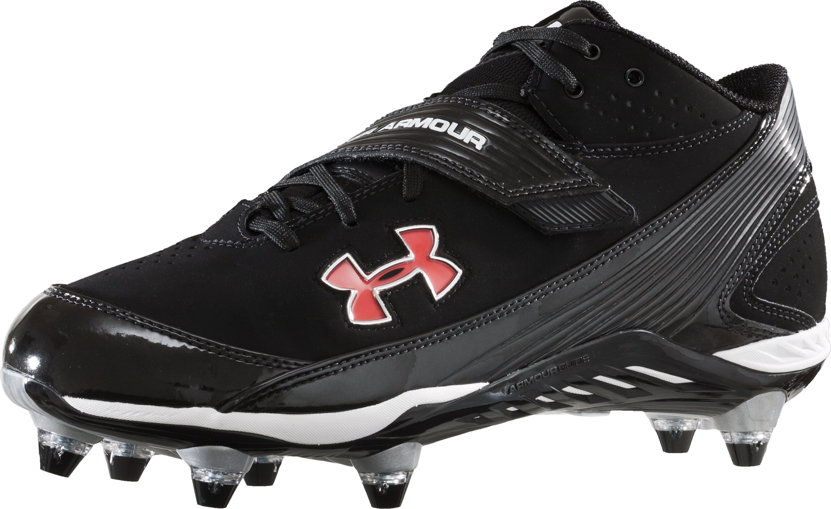 Men's UA Pursuit II Mid D Wide Football Cleats, Black , zoomed image