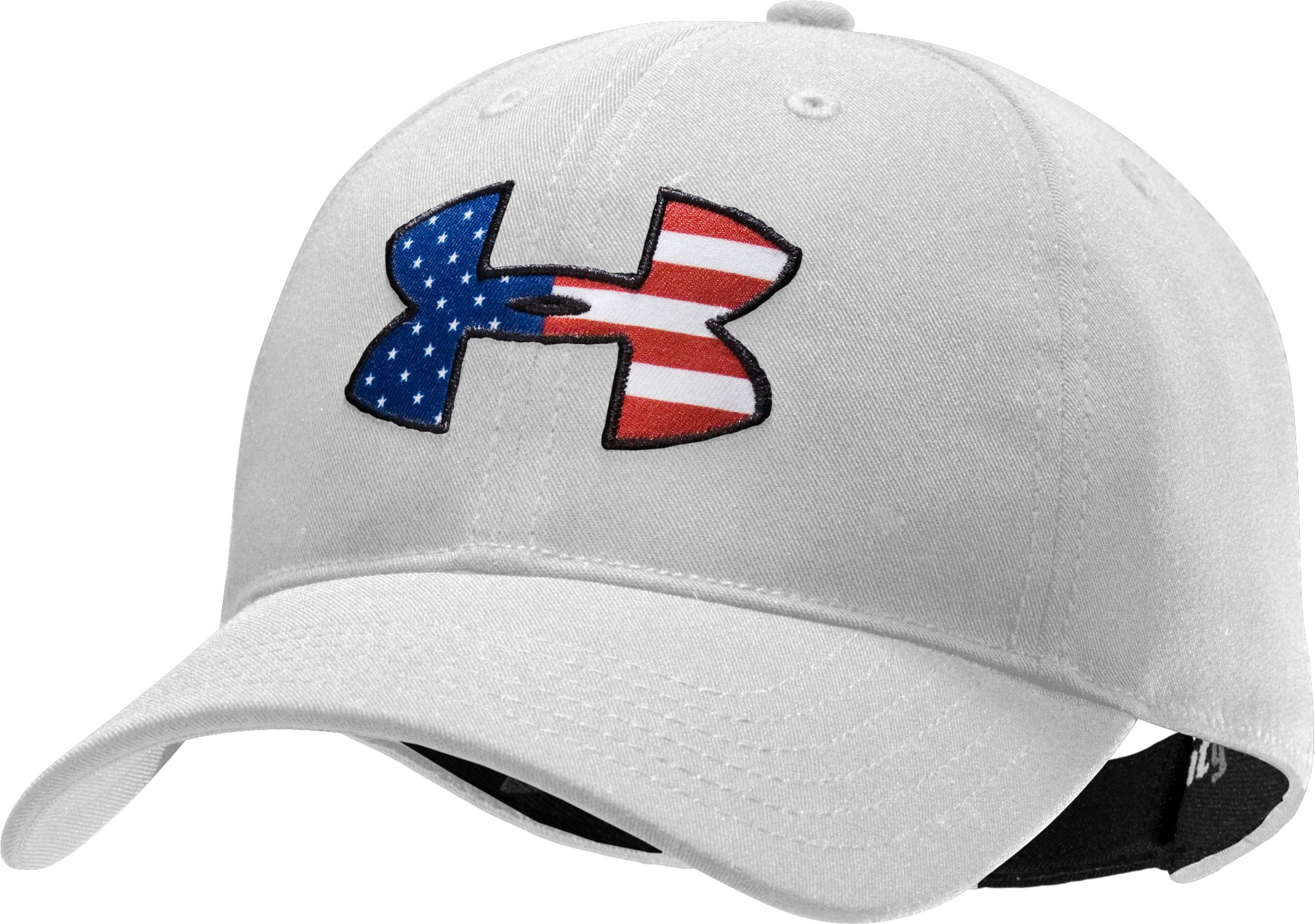 Men's Big Flag Logo Adjustable Cap, White
