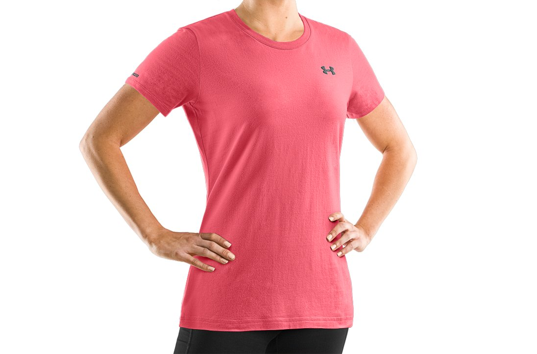 Women's UA Charged Cotton® Short Sleeve T-Shirt, Peony, undefined