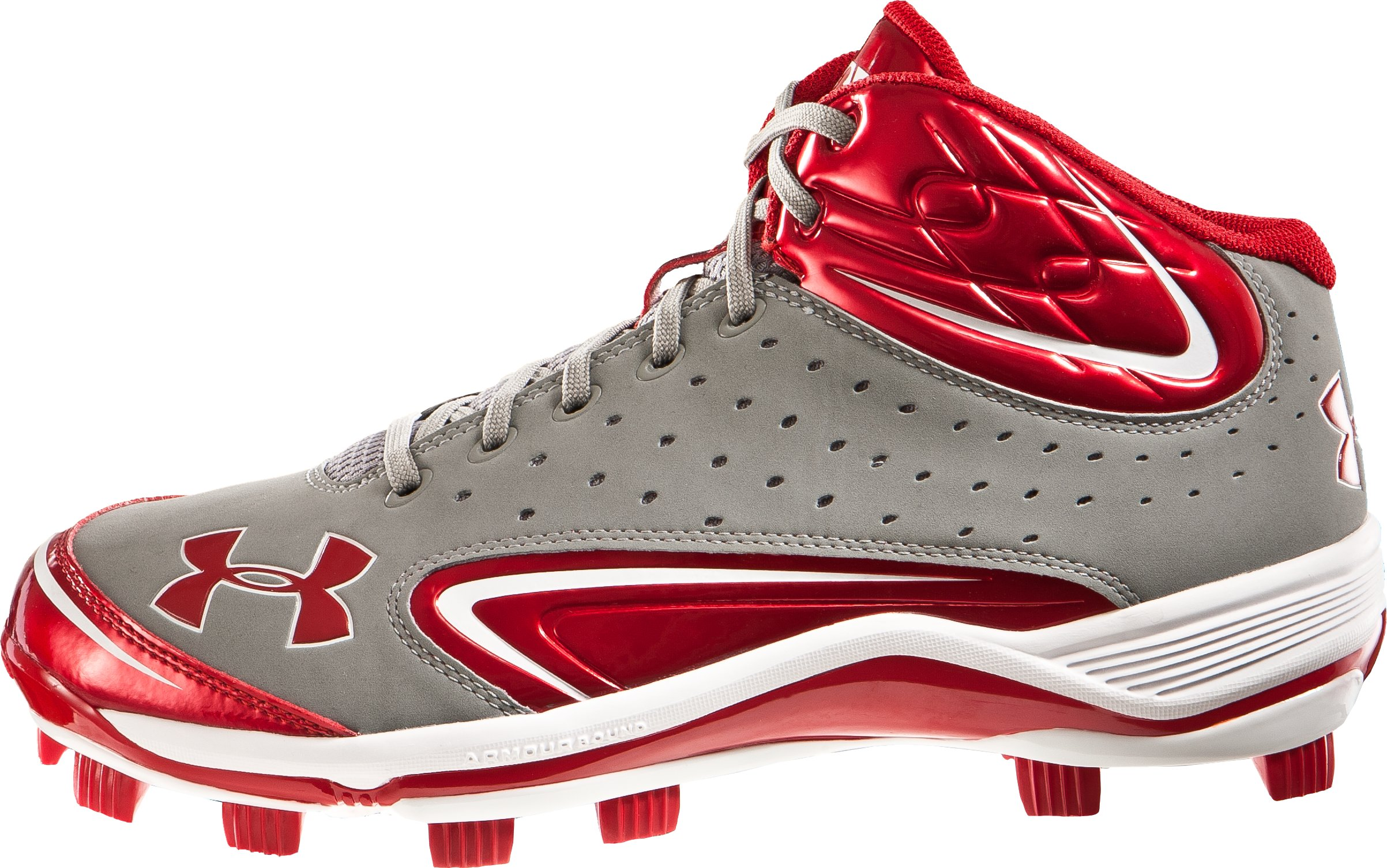 Men's UA Yard III Mid-Cut Molded Baseball Cleats, Gray, zoomed image