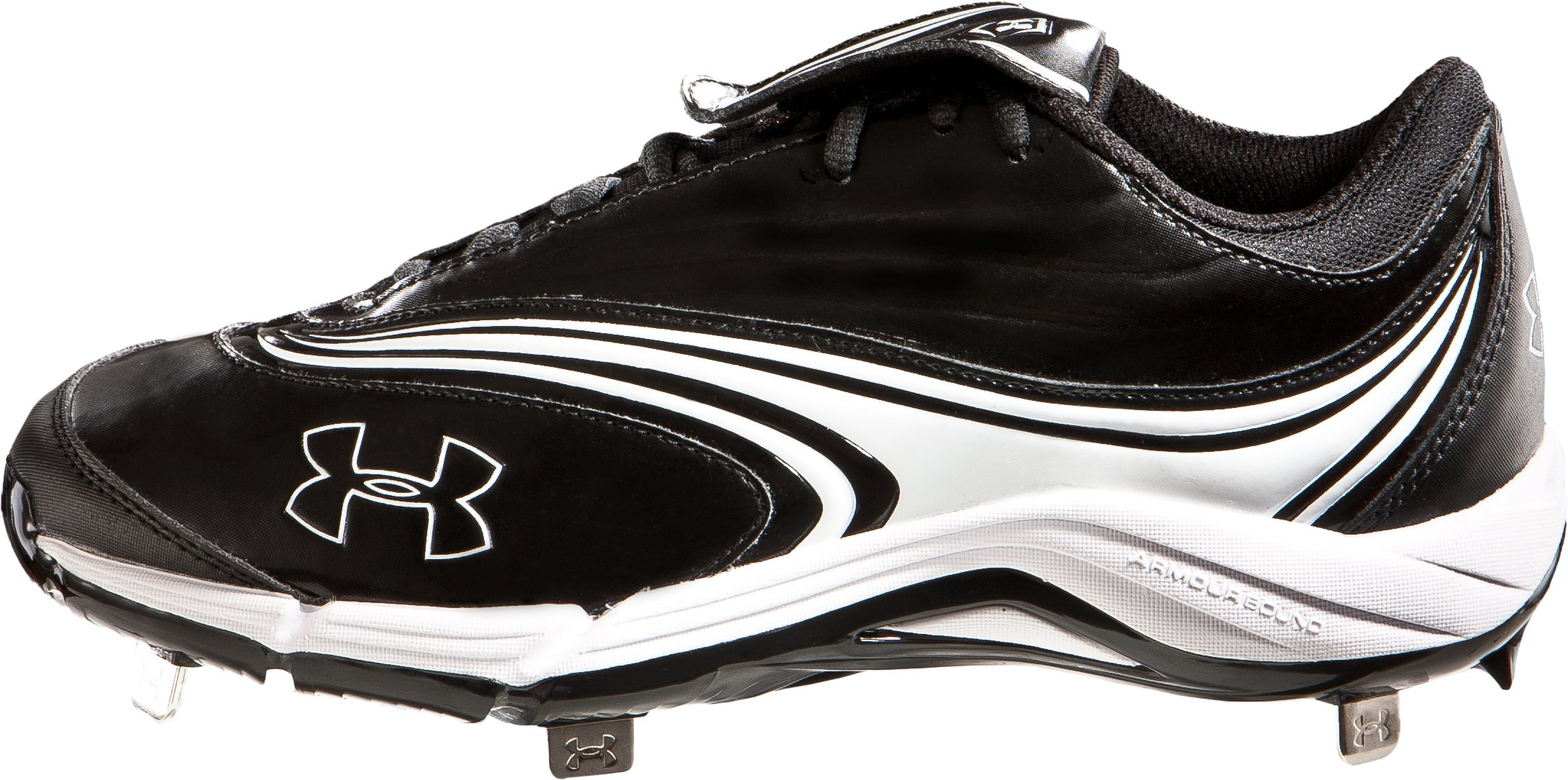 Women's UA Glyde IV Steel Softball Cleats, Black , zoomed image