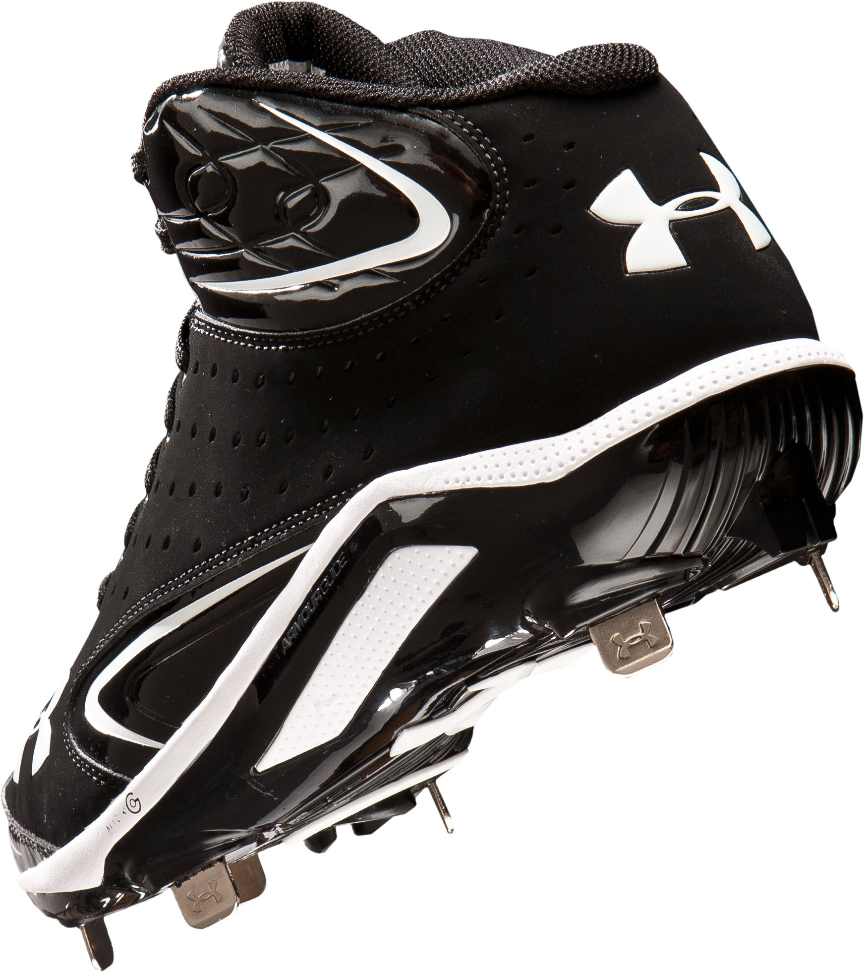 Men's UA Yard III Mid-Cut Metal Baseball Cleats, Black , undefined