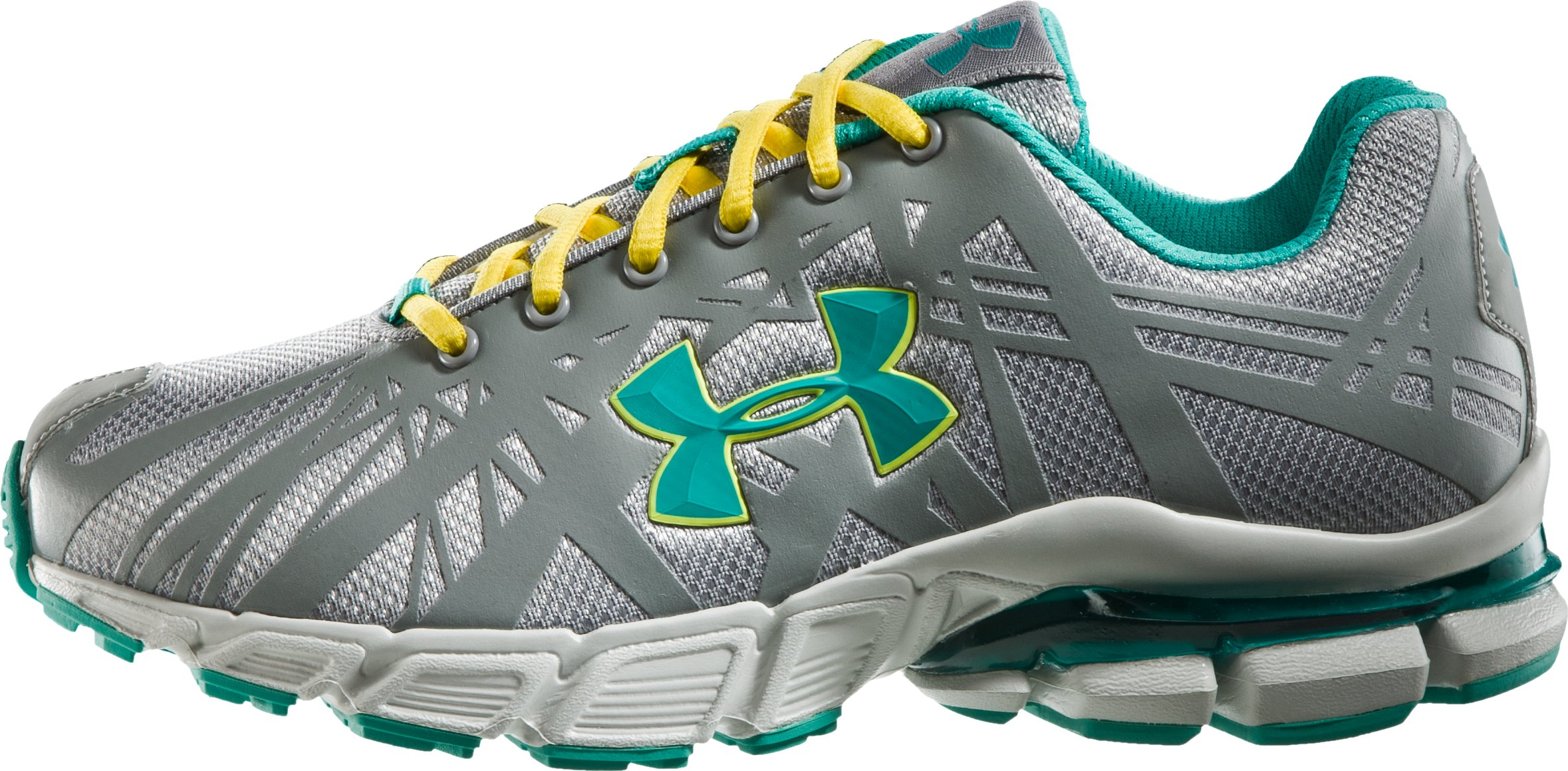 Girls' UA Shatter Grade School Running Shoes, Steel, zoomed image
