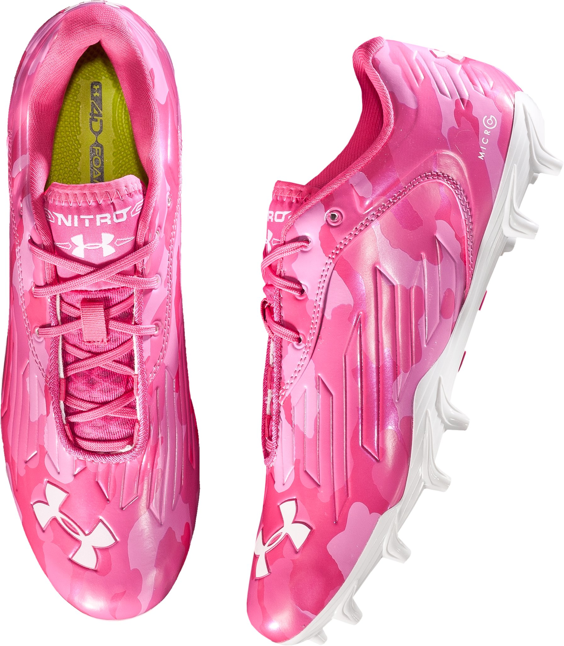 Men's UA Nitro Diablo Low MC Football Cleats, True Pink