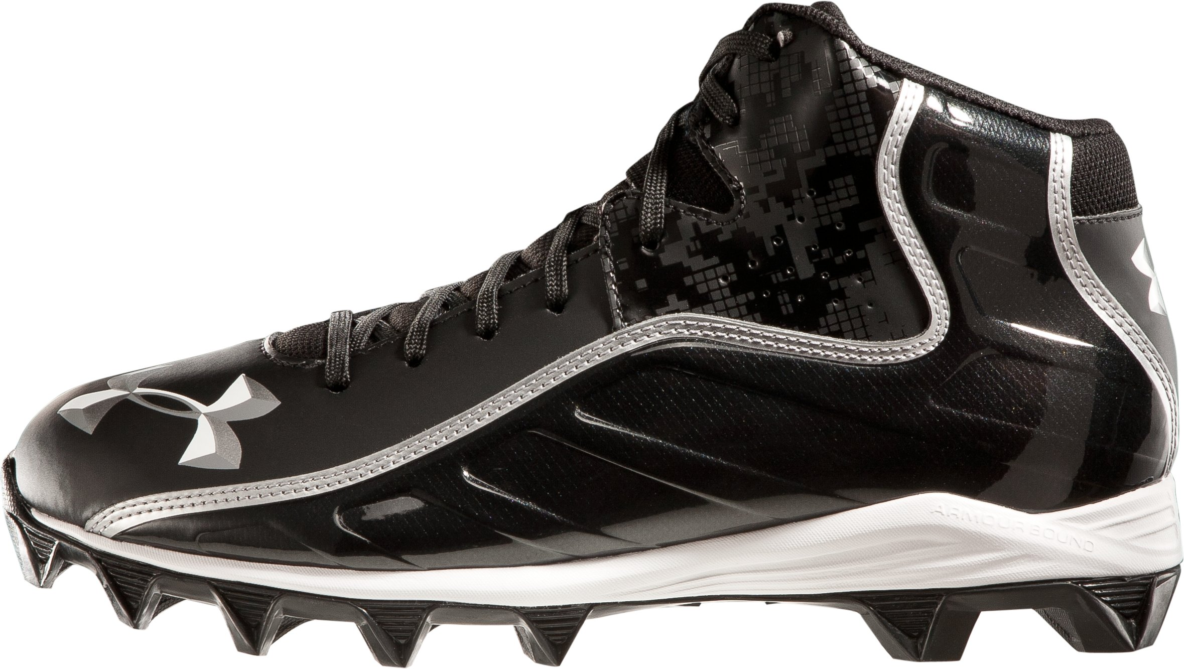 Men's UA Hammer Mid Football Cleats, Black , zoomed image
