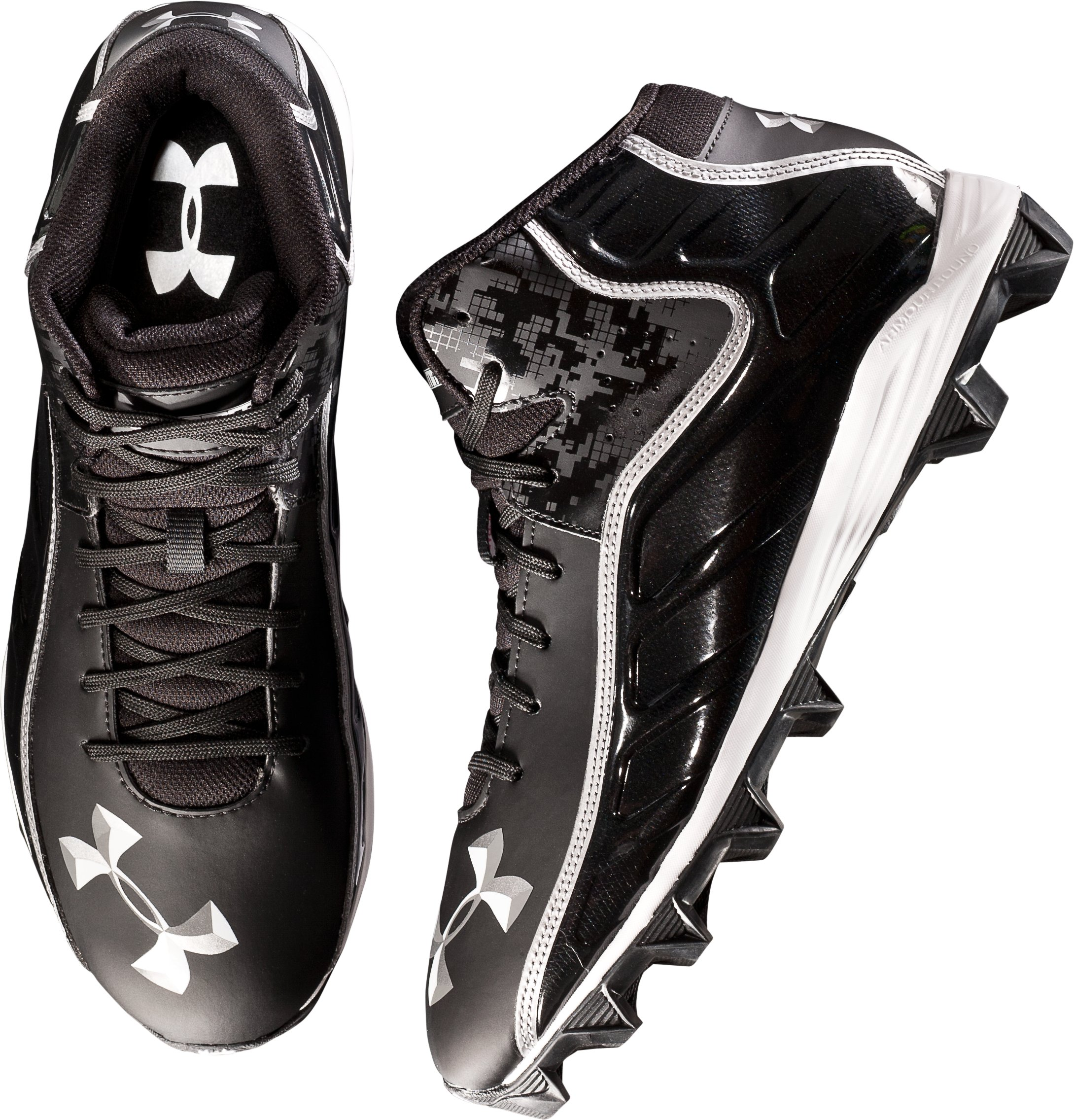 Men's UA Hammer Mid Wide Football Cleats, Black , undefined