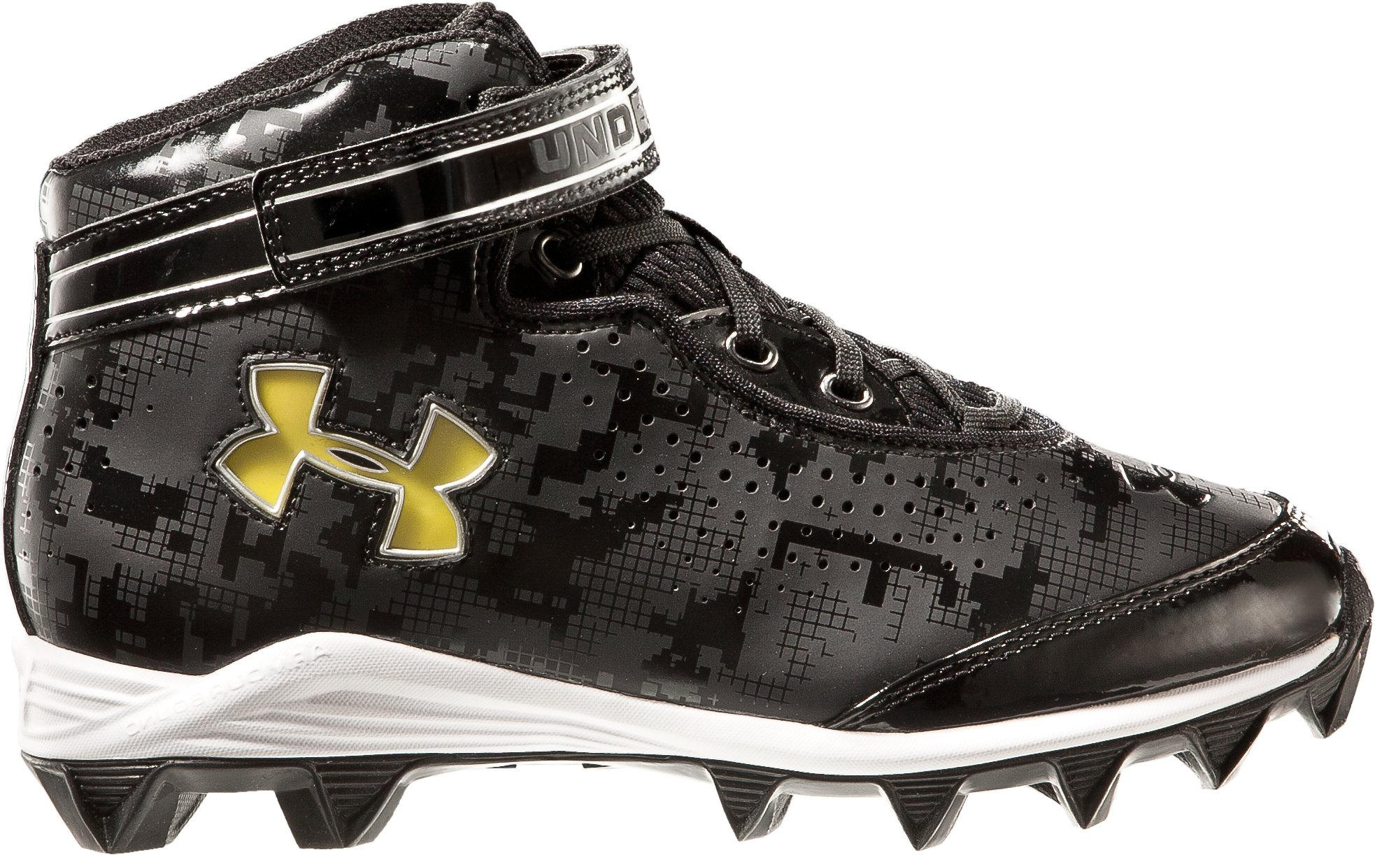 Boys' UA Crusher Football Cleats, Black , zoomed image