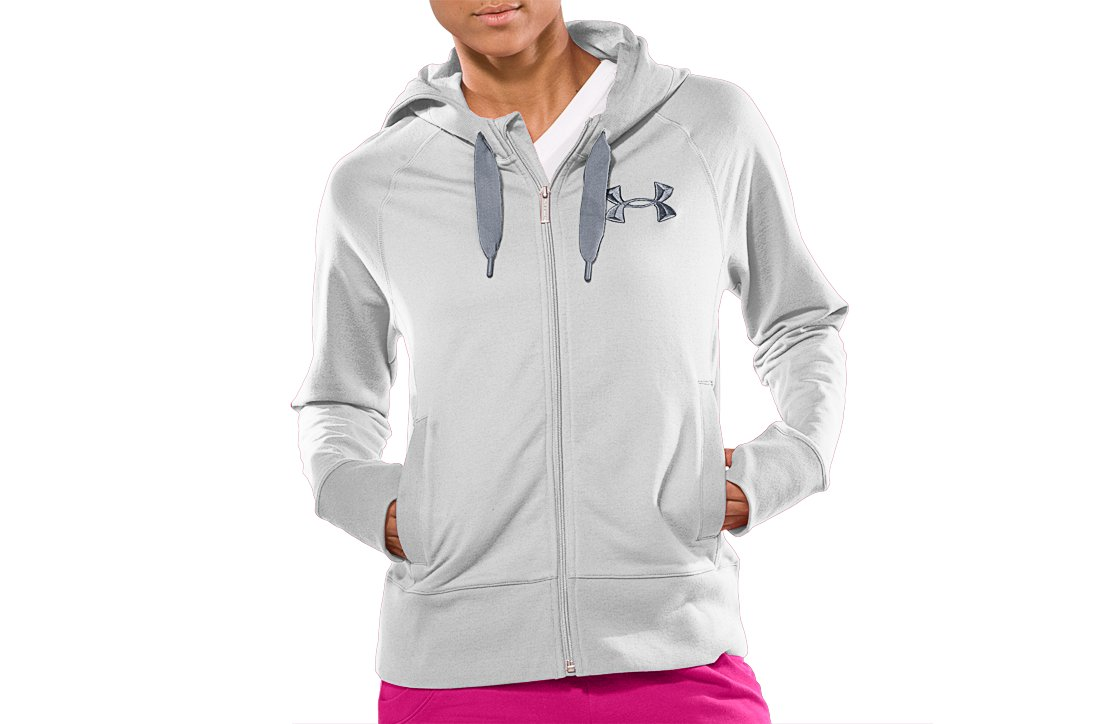 Women's UA Light Charged Cotton® Storm Full Zip, White