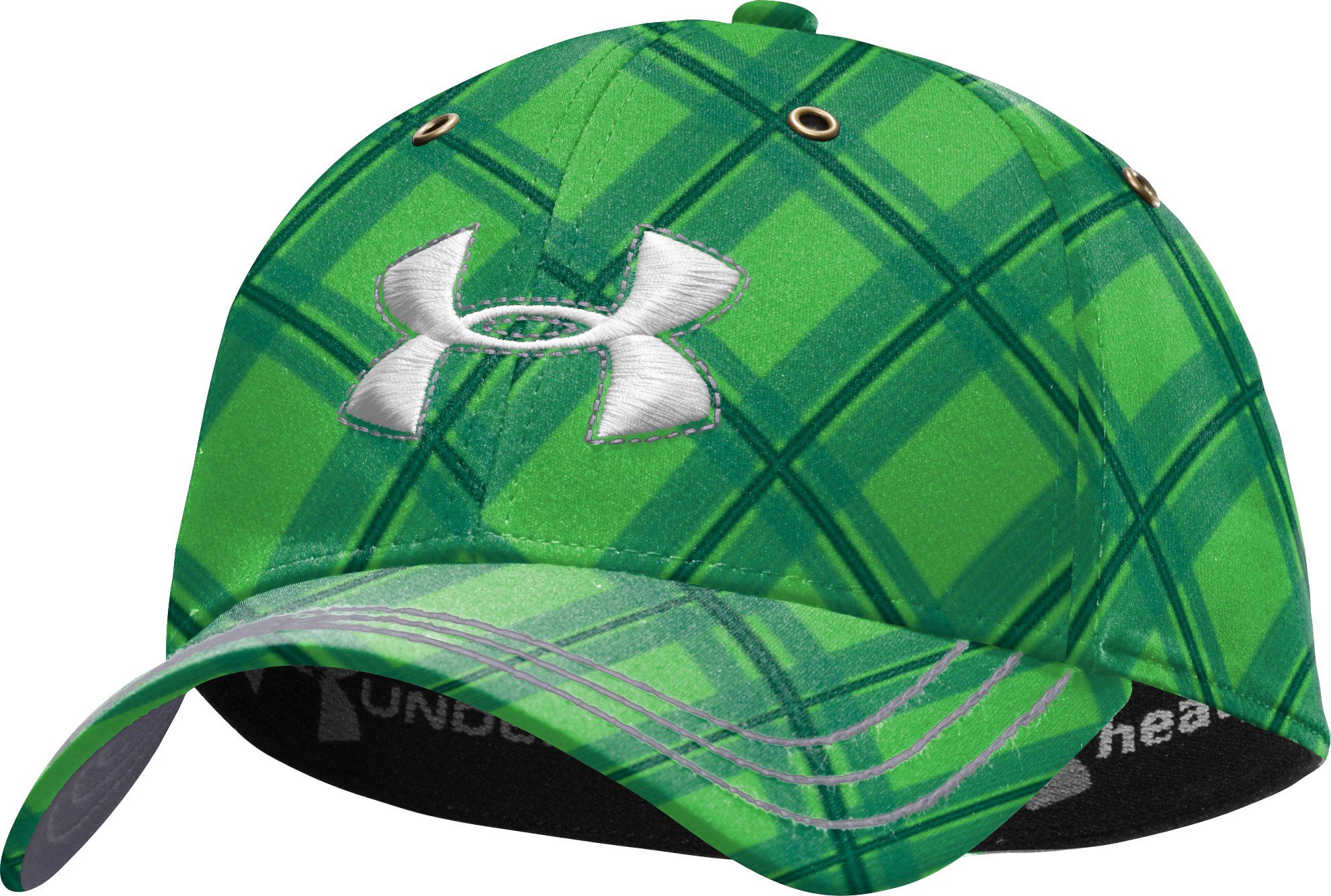 Men's UA Biased Plaid Stretch Fit Cap, Tree Frog