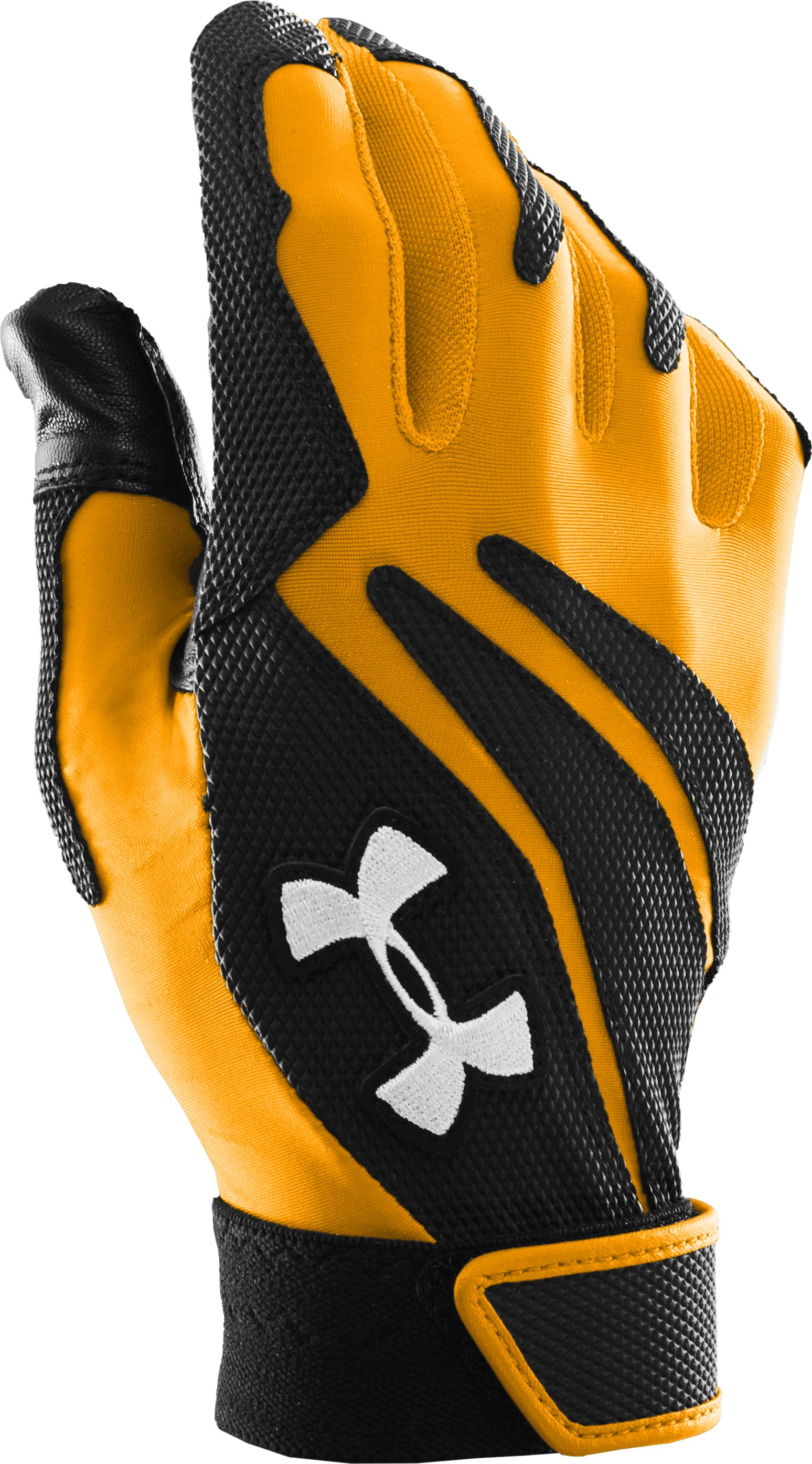 Men's UA Clean Up IV Batting Gloves, Steeltown Gold