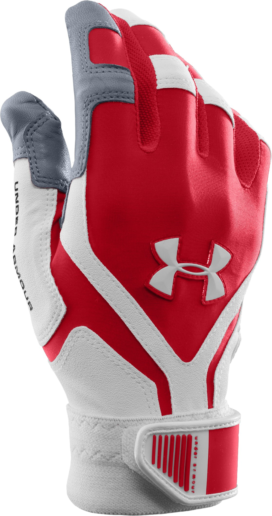 Men's UA Cage Batting Gloves, Red