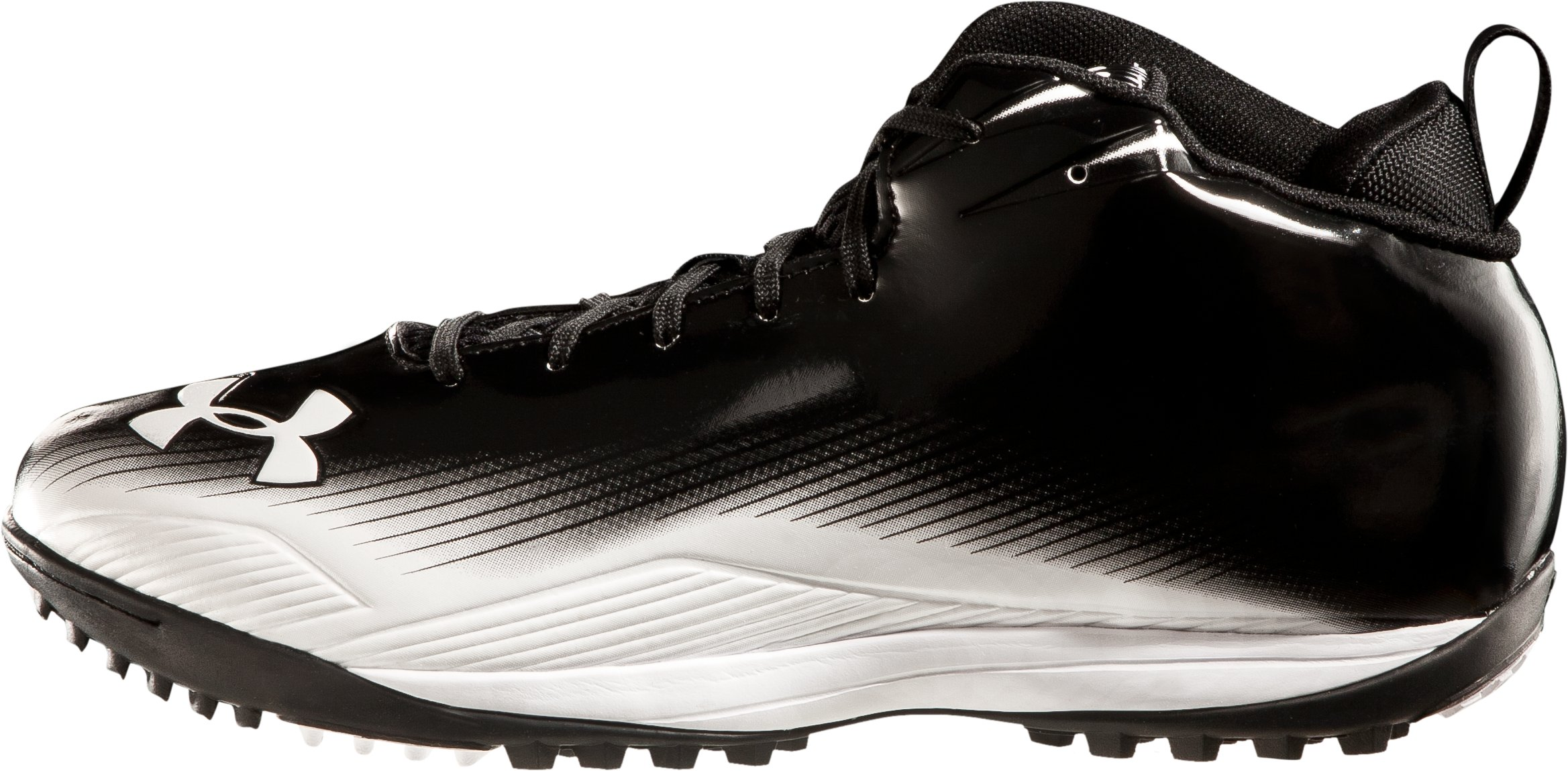Men's UA Nitro III Mid-Cut Molded Lacrosse Turf Shoes, Black , zoomed image