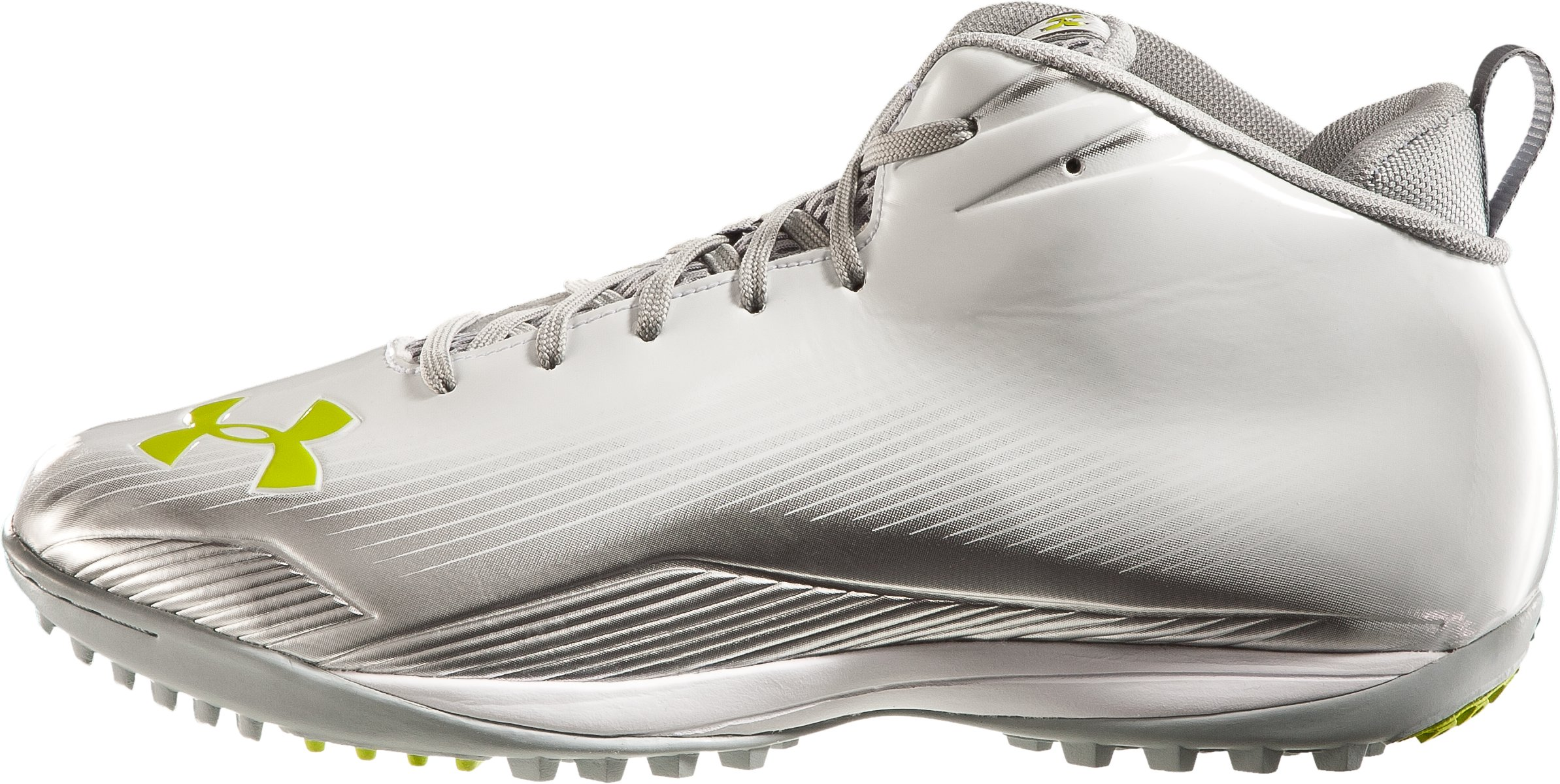 Men's UA Nitro III Mid-Cut Molded Lacrosse Turf Shoes, White, zoomed image