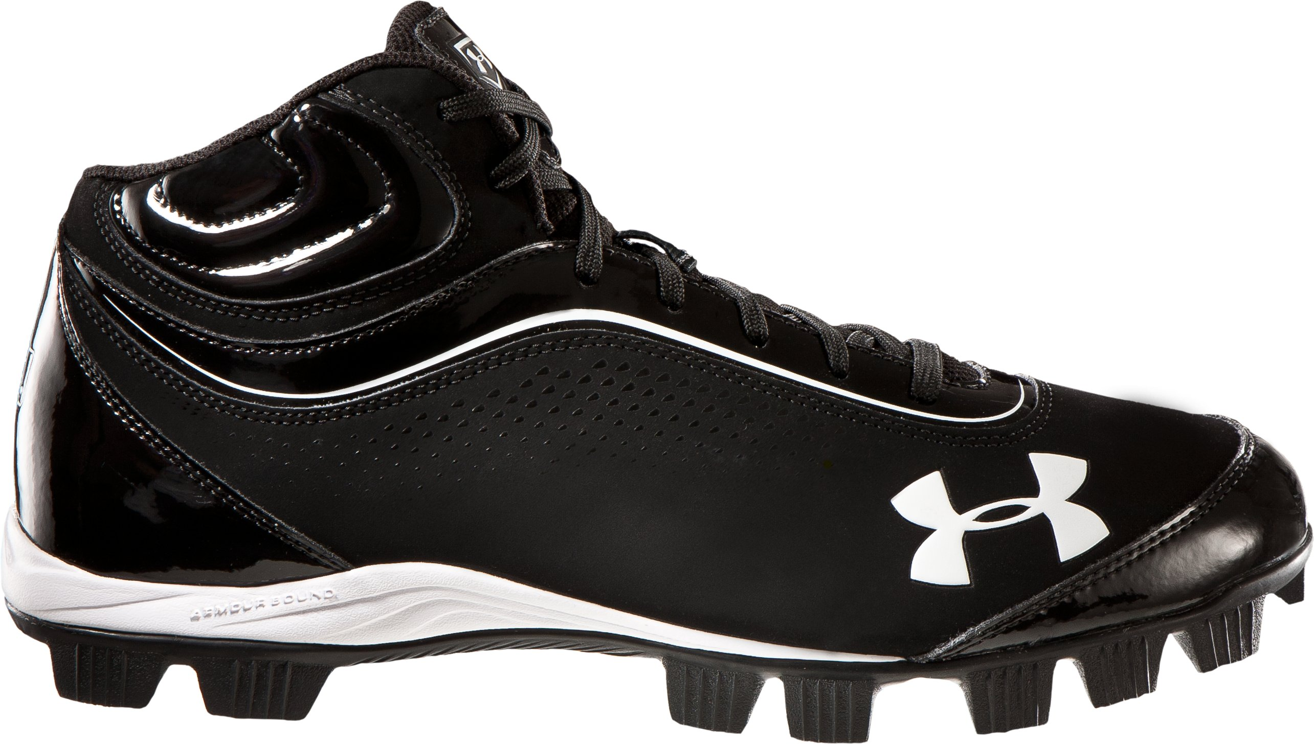 Men's UA Leadoff IV Mid-Cut Rubber Baseball Cleats, Black , zoomed image