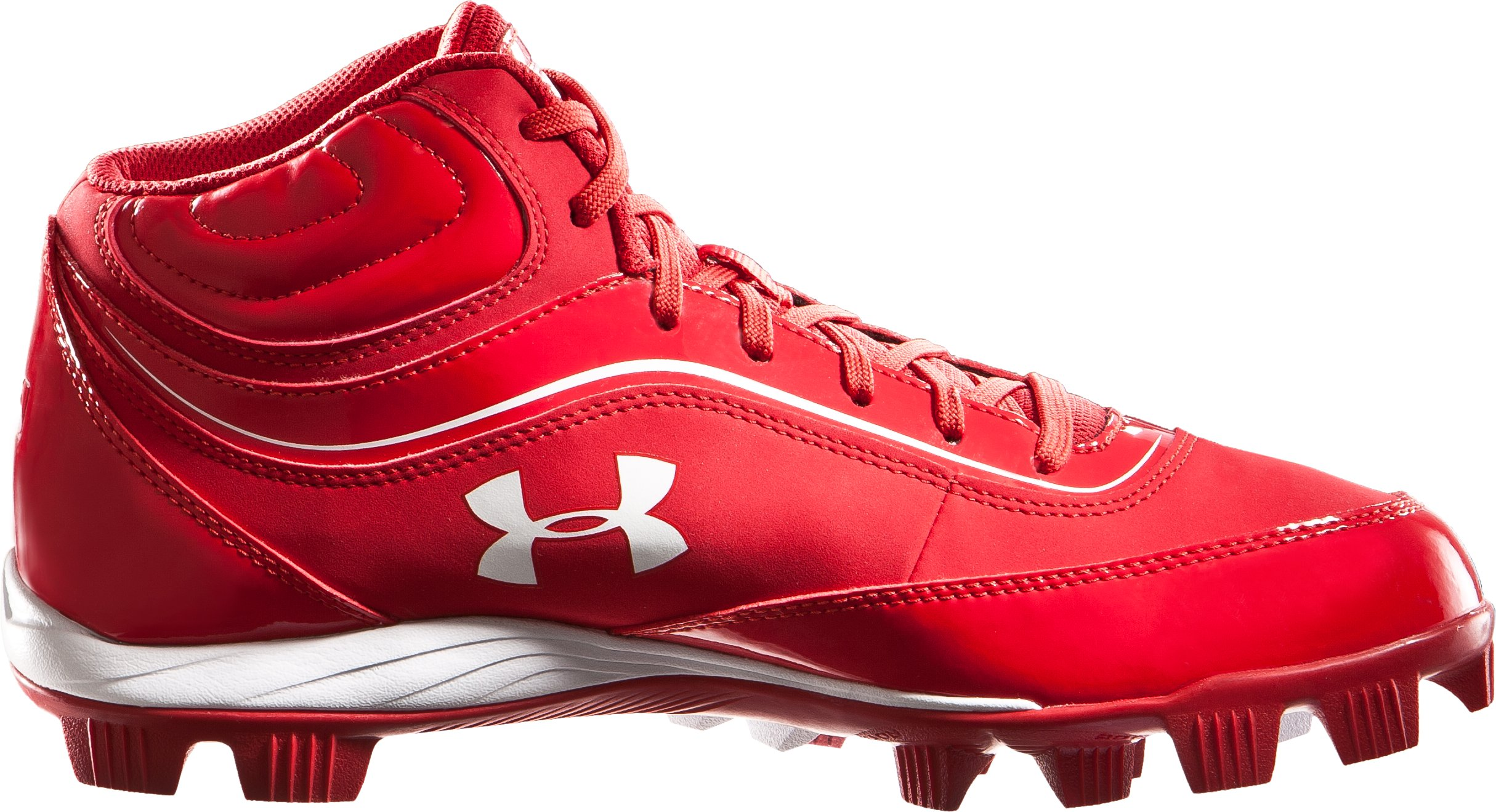 Men's UA Leadoff IV Mid-Cut Rubber Baseball Cleats, Red, zoomed image
