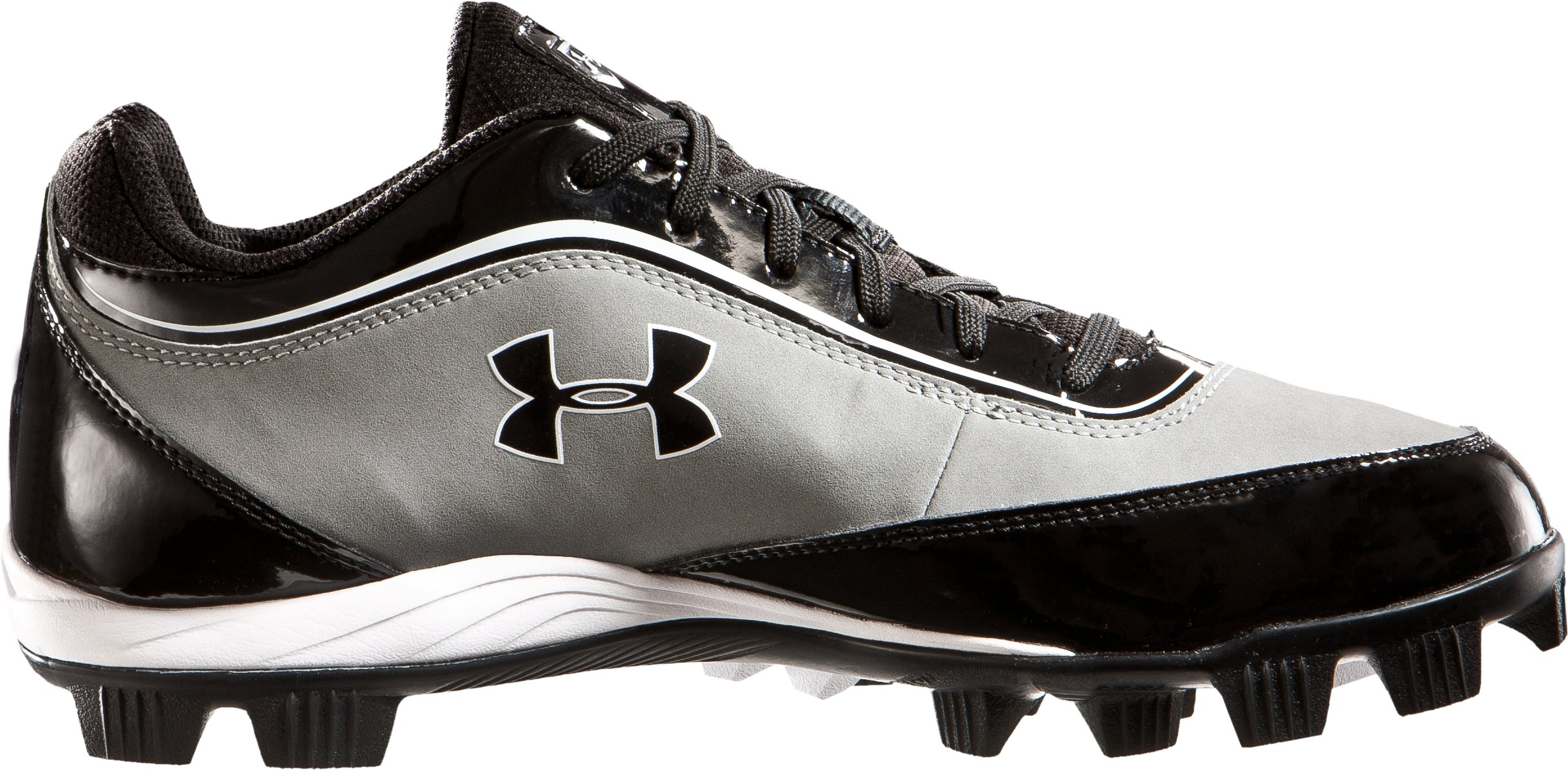 Men's UA Leadoff IV Low-Cut Rubber Baseball Cleats, Gray, zoomed image