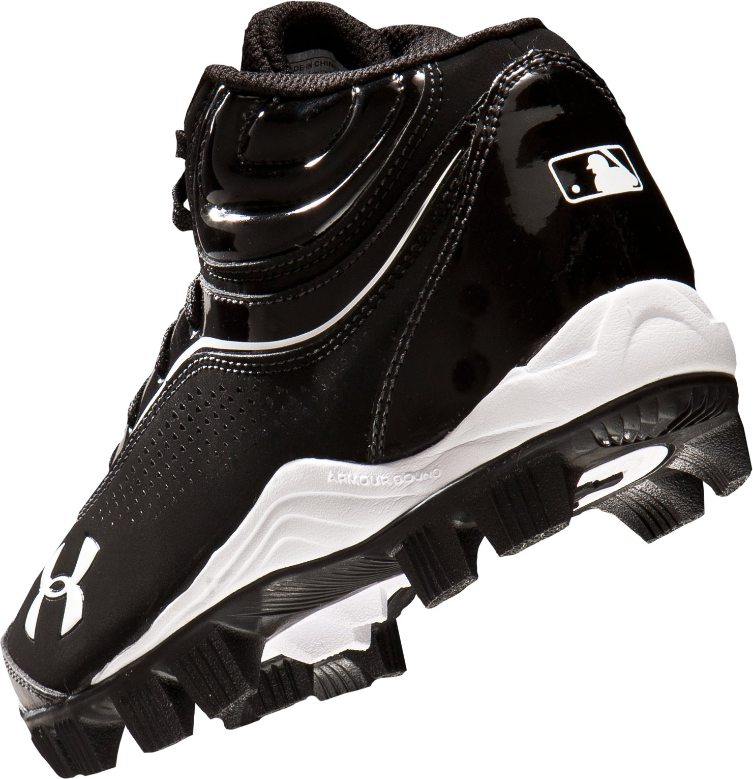 Boys' UA Leadoff IV Jr. Mid-Cut Rubber Baseball Cleats, Black , undefined