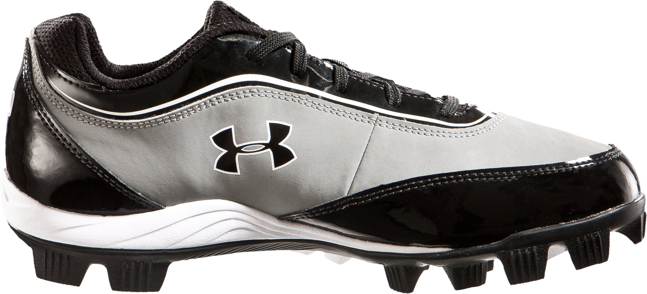Boys' UA Leadoff IV Jr. Low-Cut Rubber Baseball Cleats, Gray