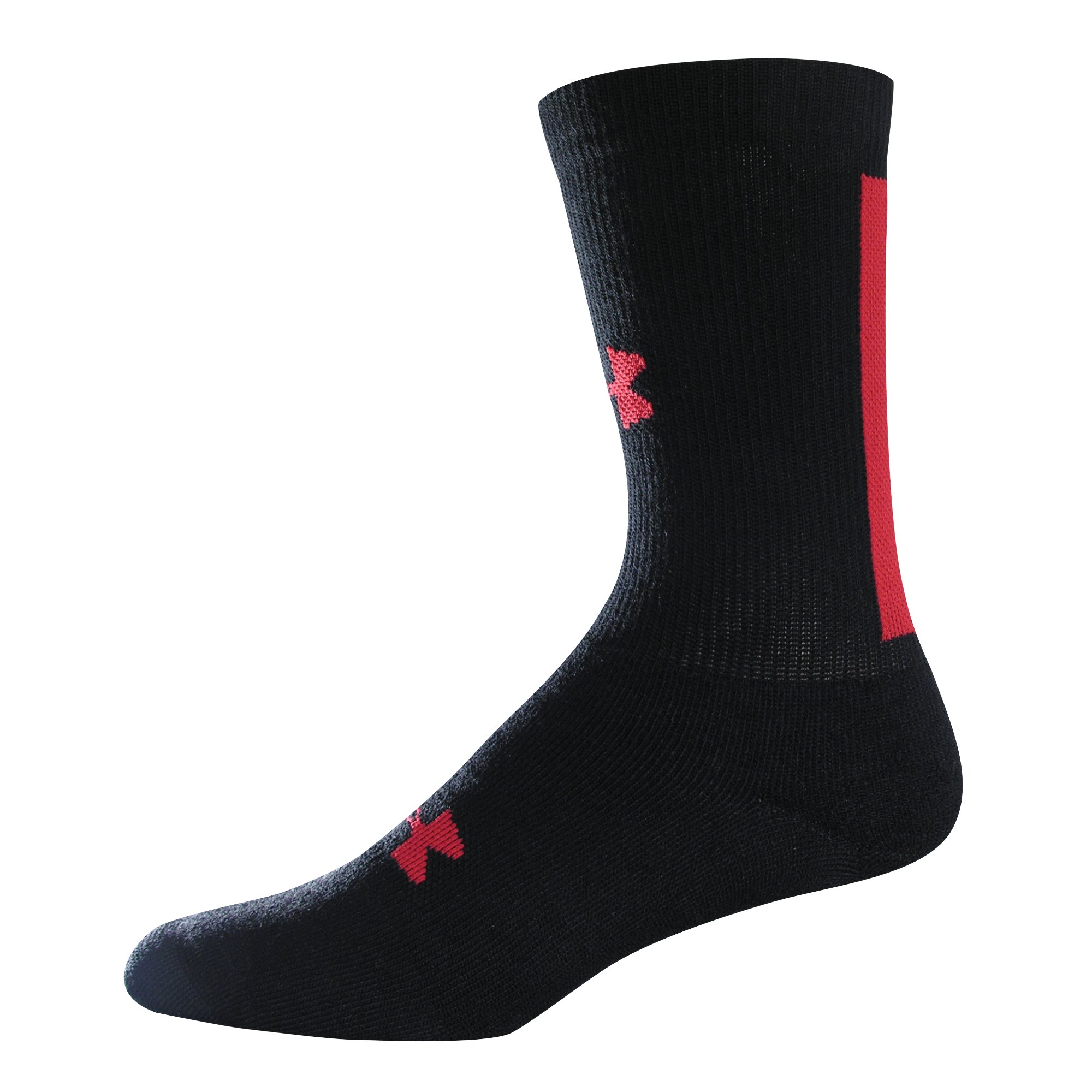 Men's Racing Stripe Crew Socks, Black , zoomed image