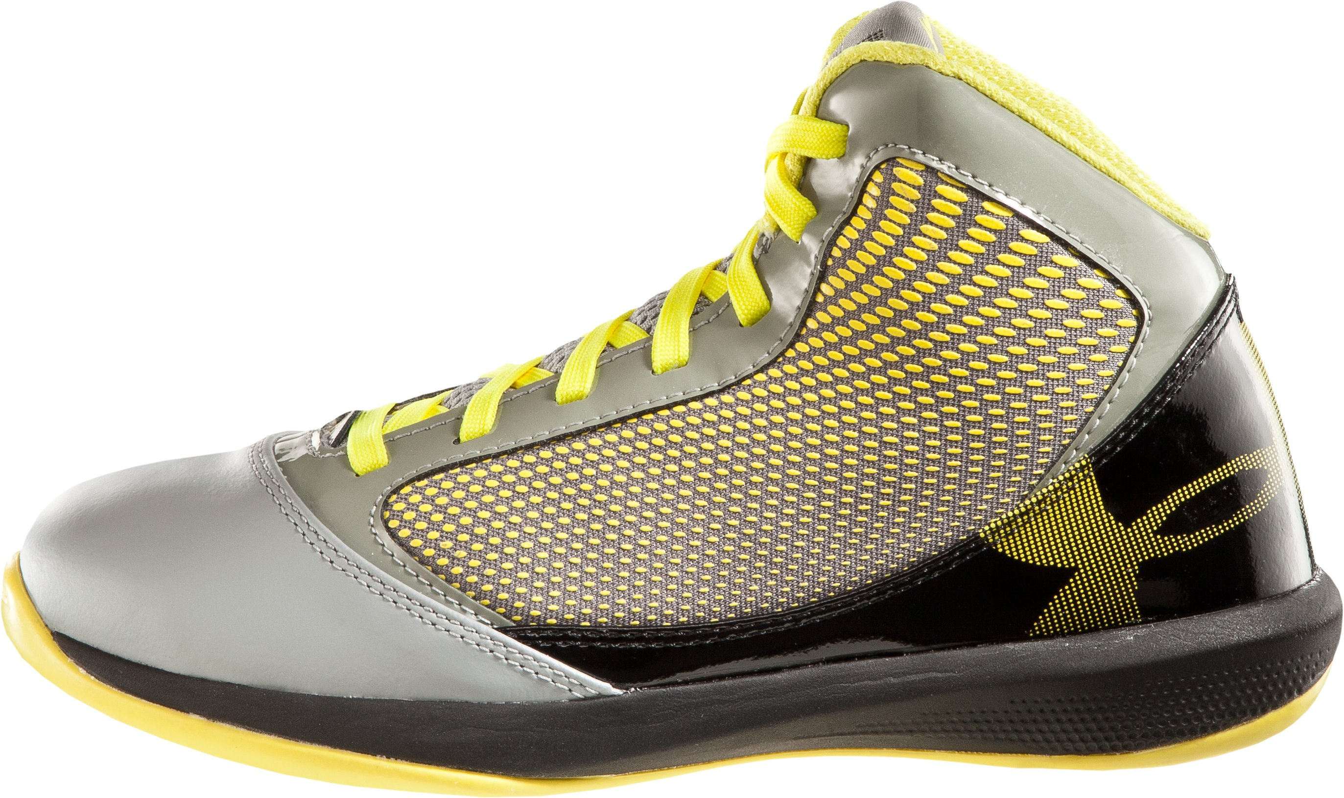 Boys' UA Jet Grade School Basketball Shoes, Steel, zoomed image