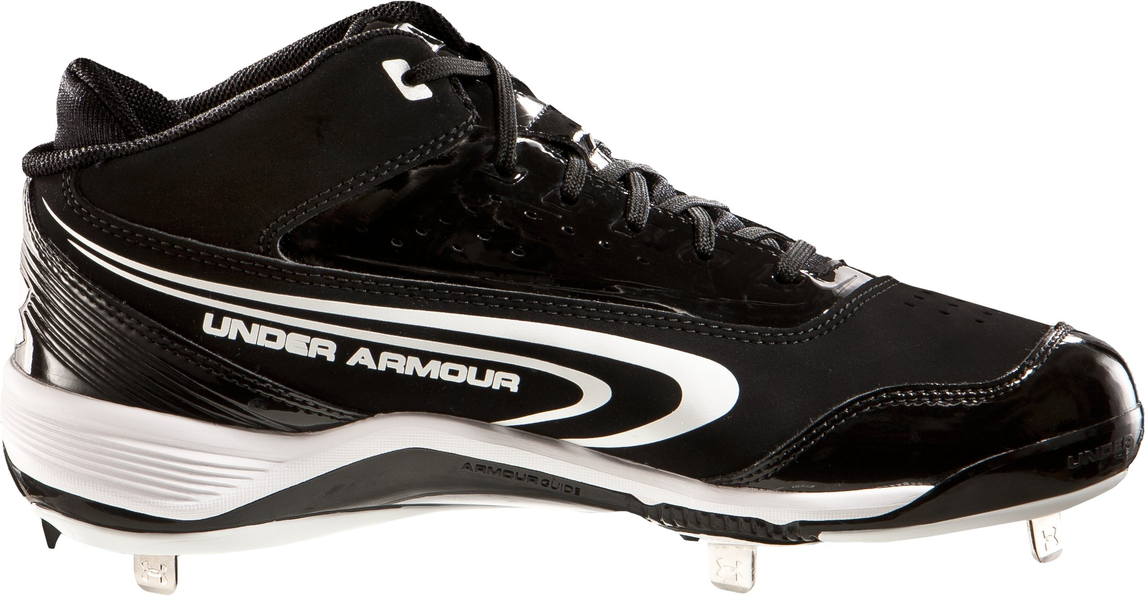 Men's UA Ignite III Mid-Cut Metal Baseball Cleats, Black , undefined