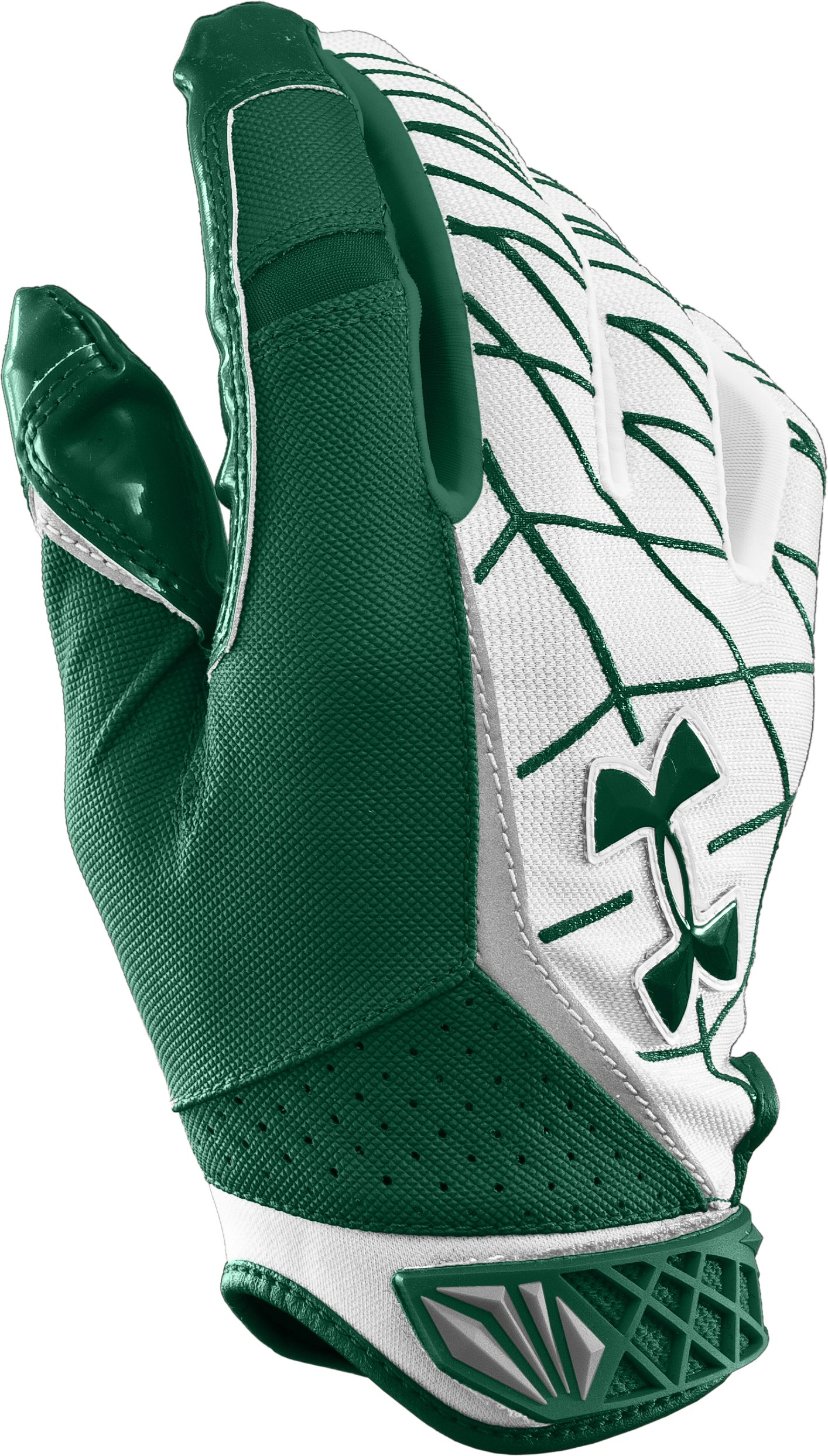 Men's UA Warp Speed Football Gloves, Forest Green