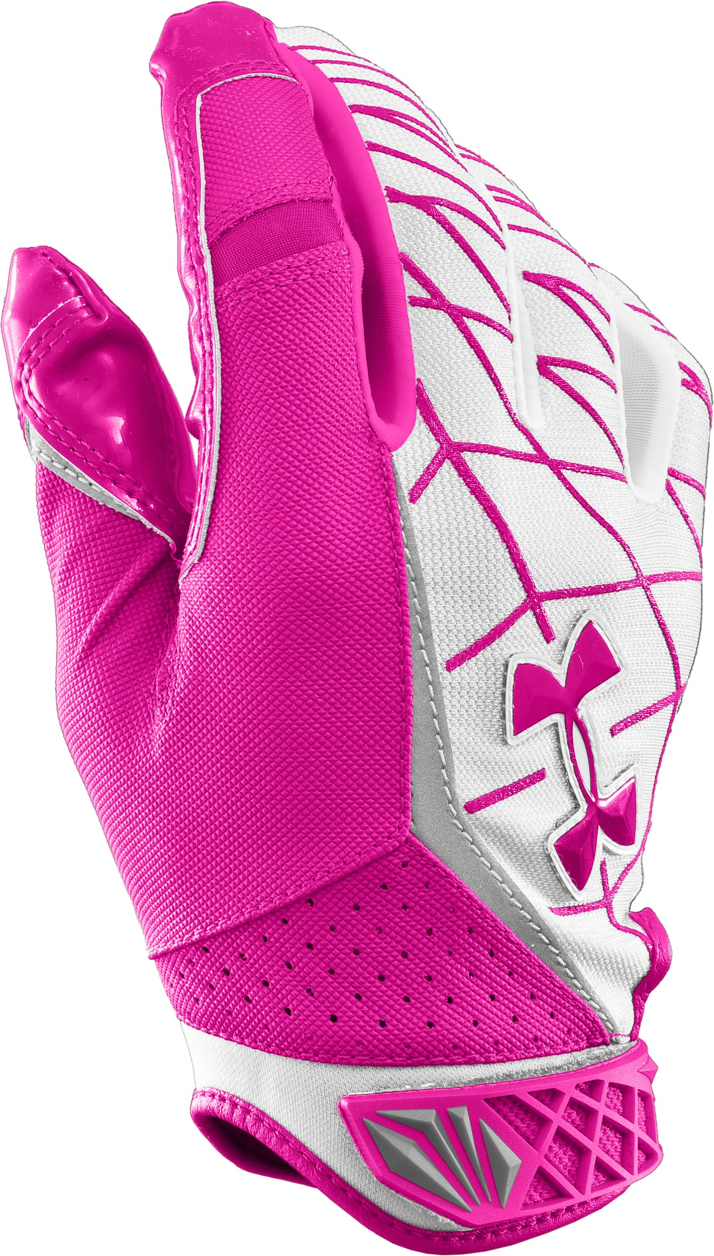 Men's UA Warp Speed Football Gloves, Tropic Pink, zoomed image