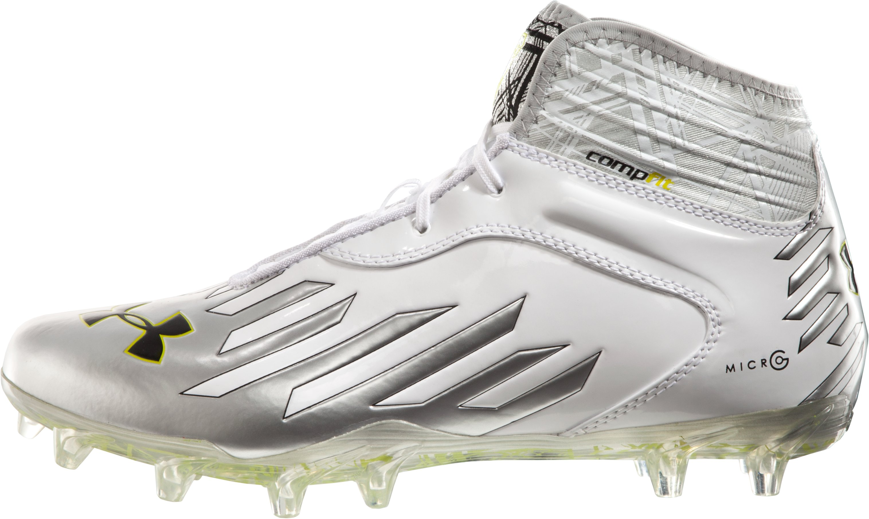 Men's UA Nitro Diablo MC CompFit® Mid Cleats, White, zoomed image