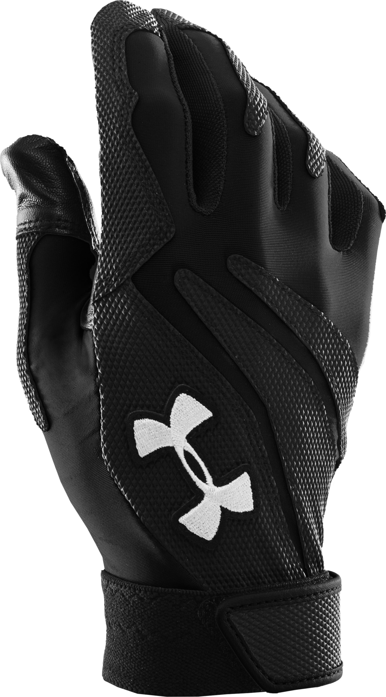 Kids' UA Clean Up IV Batting Gloves, Black , zoomed image