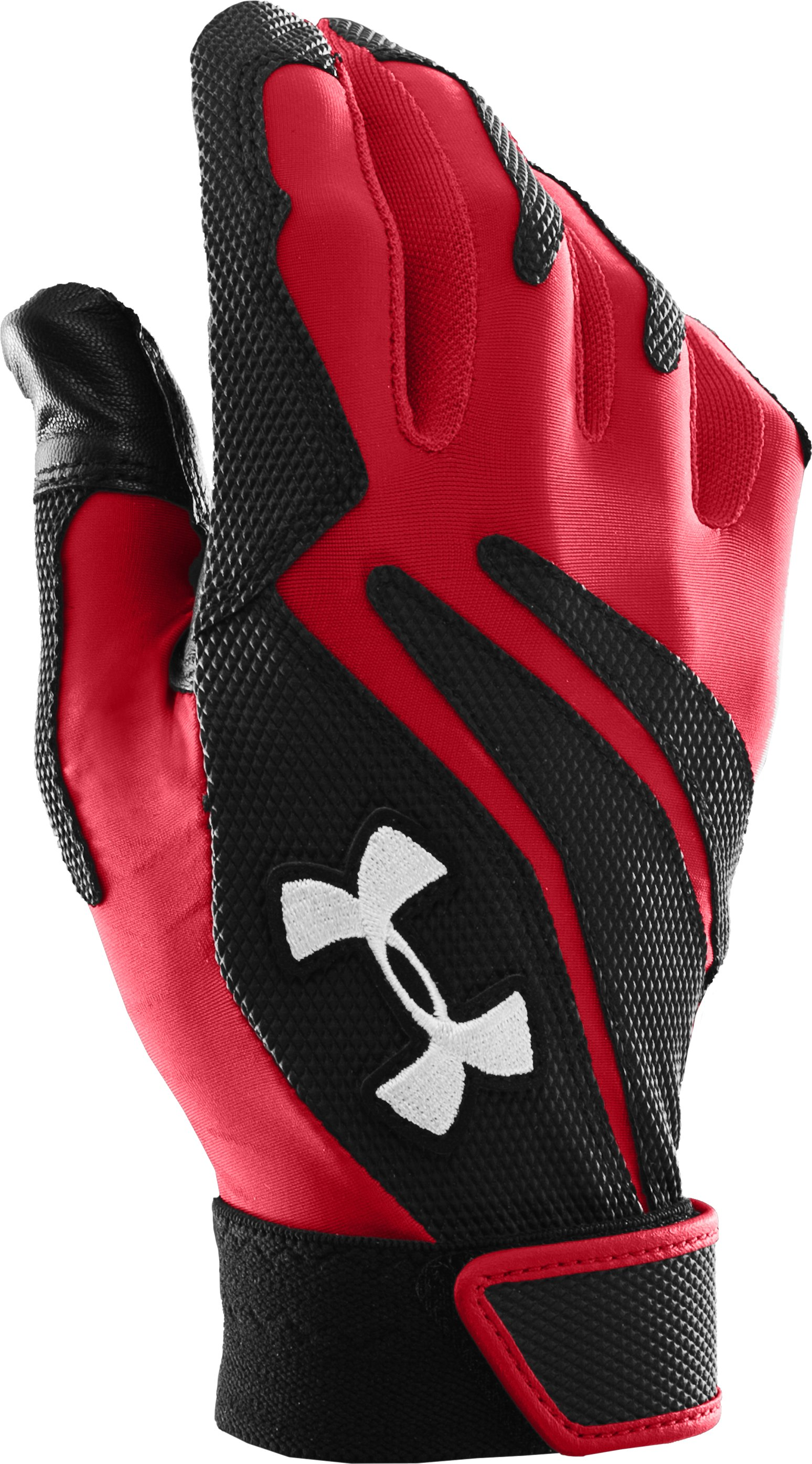 Kids' UA Clean Up IV Batting Gloves, Red, zoomed image