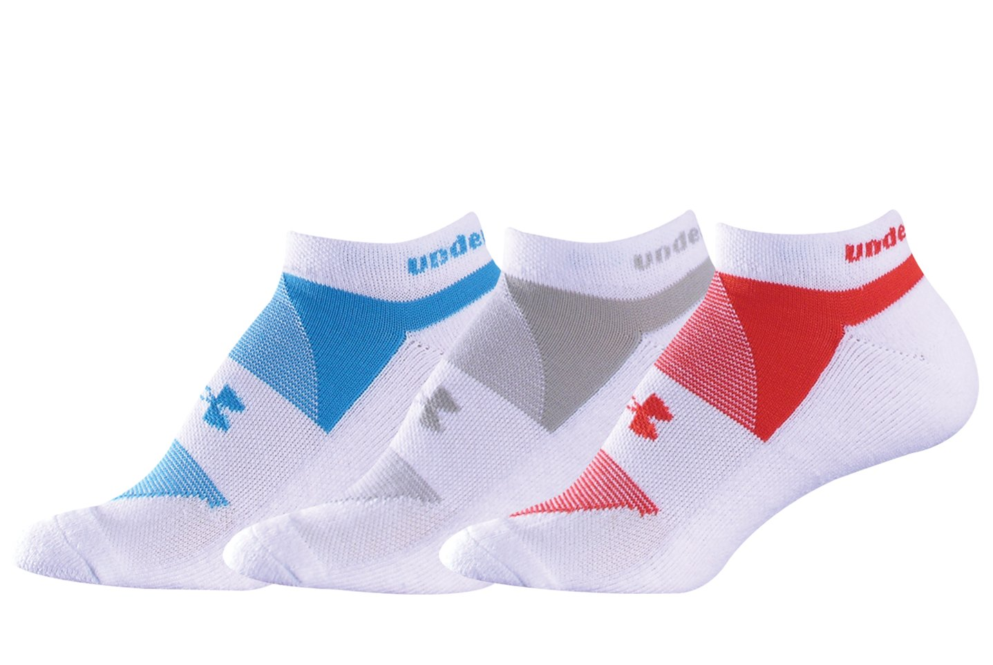Women's UA Charged Cotton® No Show Sock 3-Pack, White, undefined
