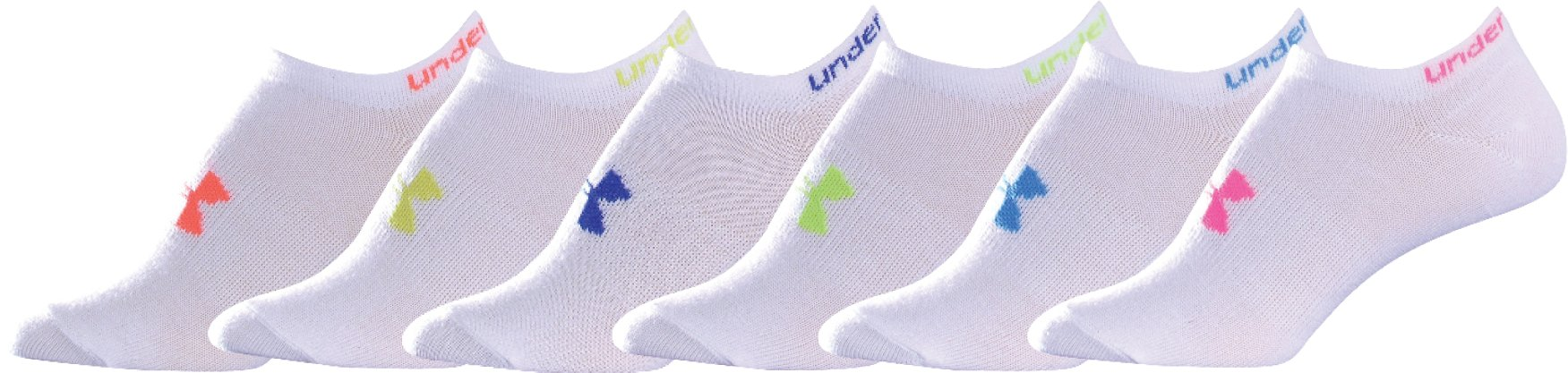 Women's UA Neon Liner Socks 6-Pack, White, undefined