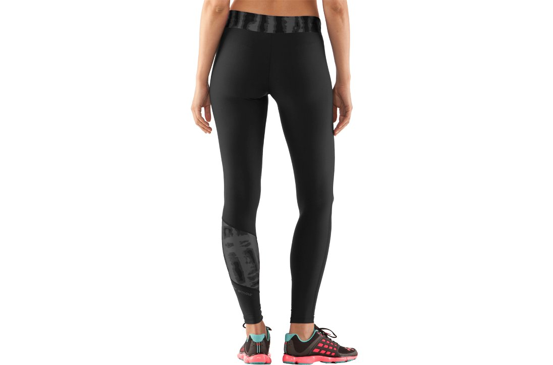 Women's UA ColdGear® Print Blocked Tight, Black