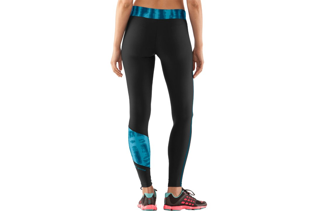 Women's UA ColdGear® Print Blocked Tight, Black , zoomed image