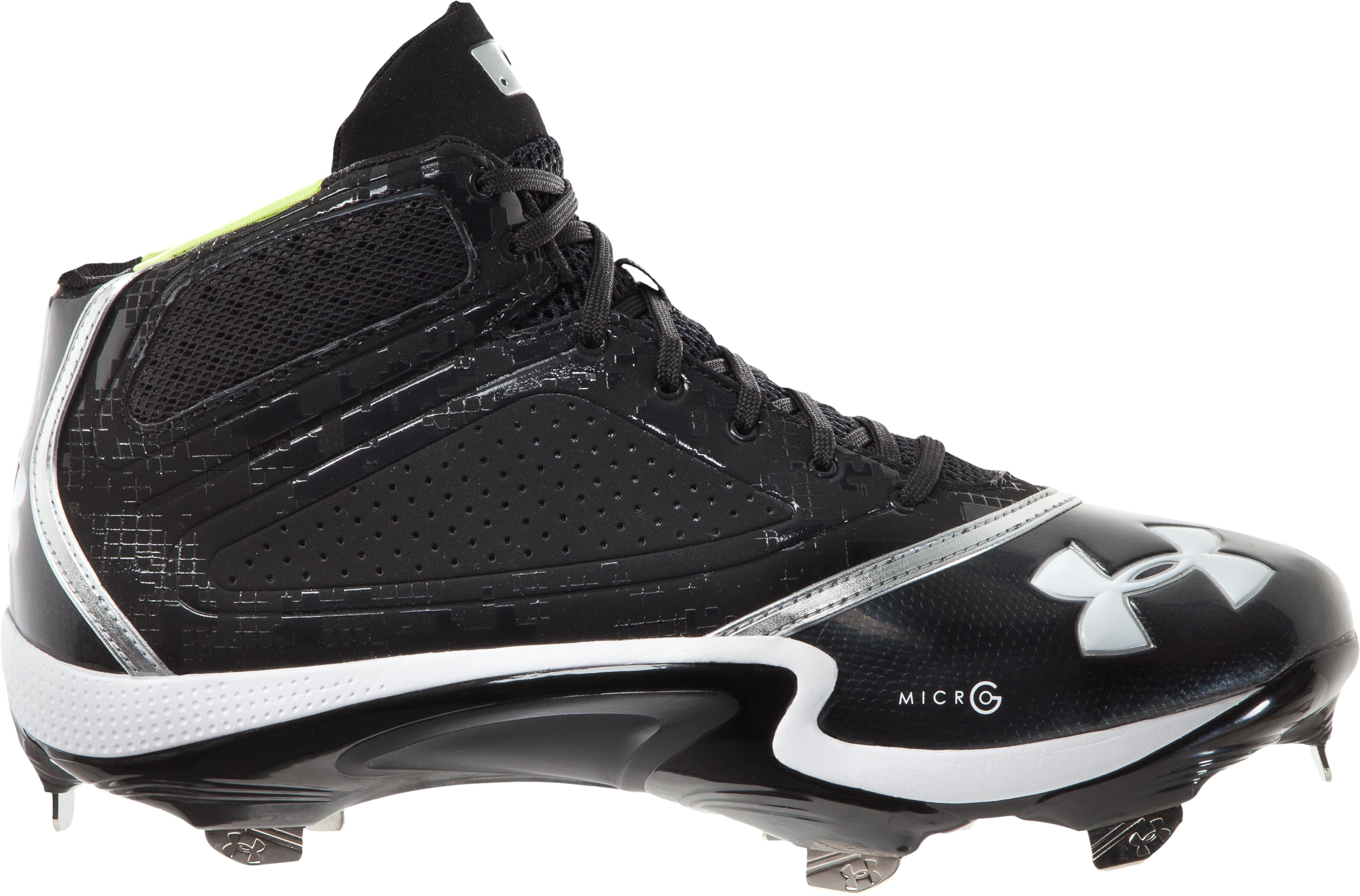 Men's UA Heater Mid ST Baseball Cleats, Black , zoomed image
