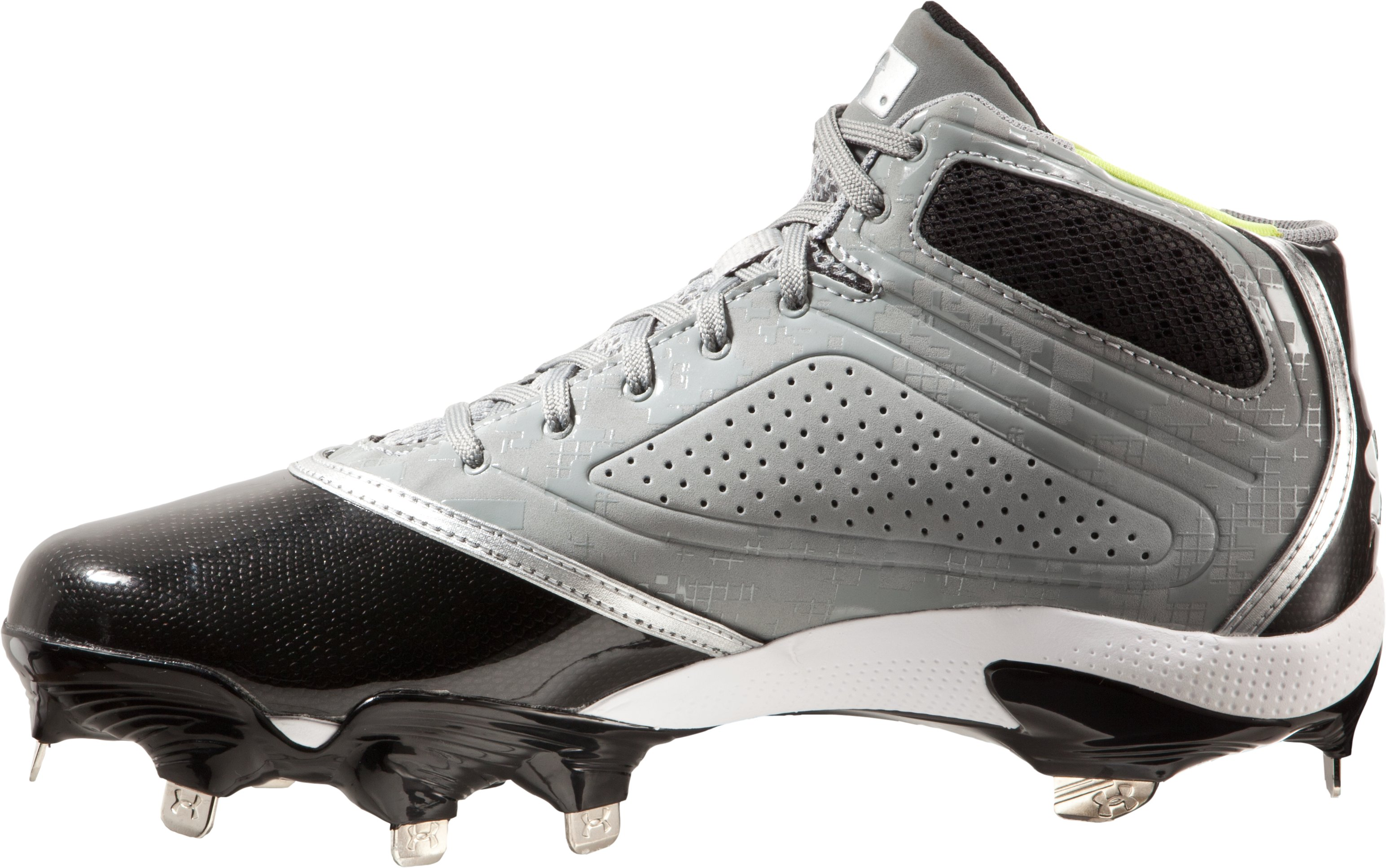 Men's UA Heater Mid ST Baseball Cleats, Baseball Gray,