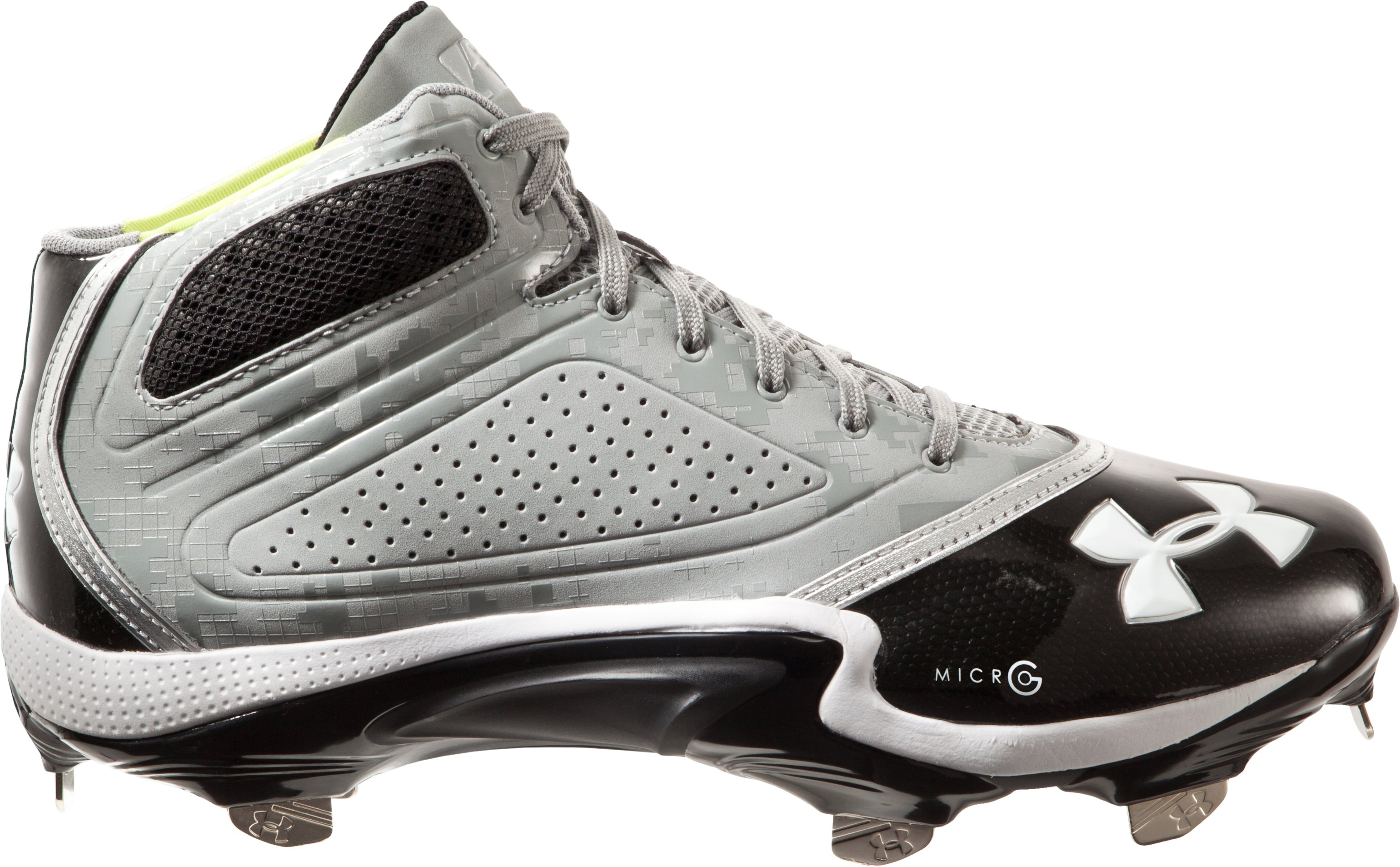 Men's UA Heater Mid ST Baseball Cleats, Baseball Gray