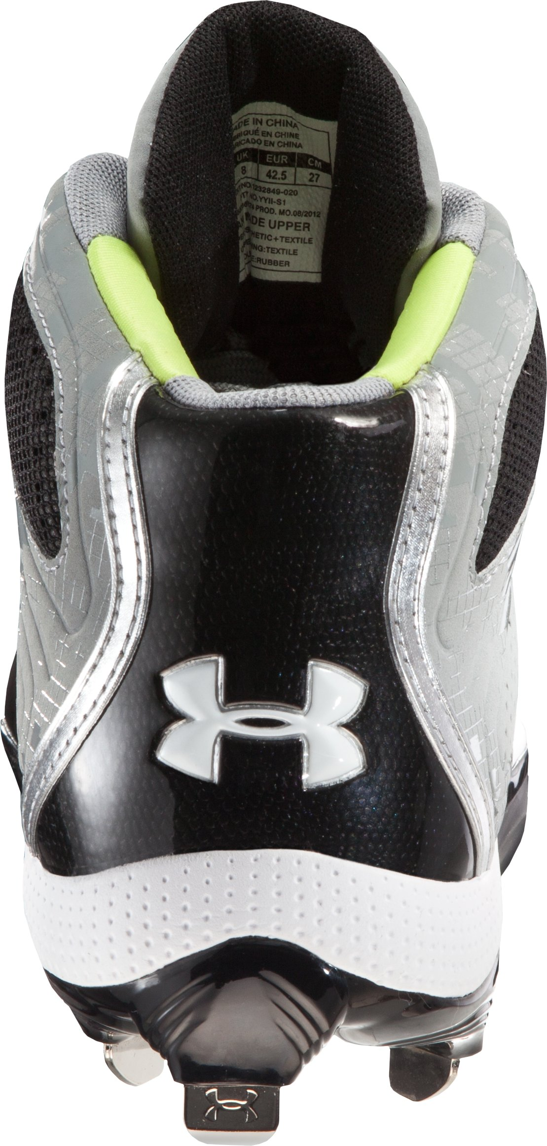 Men's UA Heater Mid ST Baseball Cleats, Baseball Gray, undefined