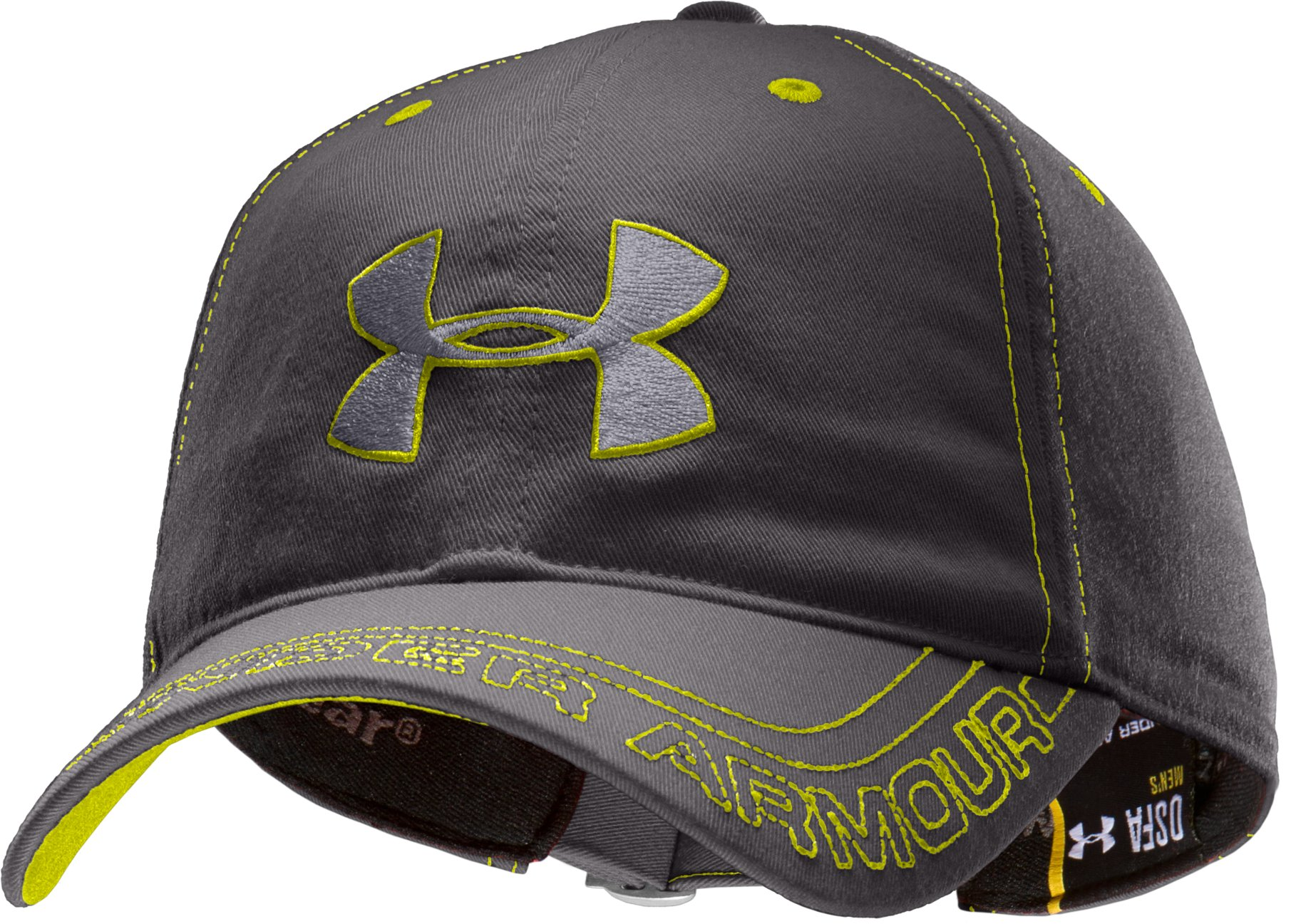 Men's UA Visor Stitch Adjustable Cap, Charcoal, zoomed image