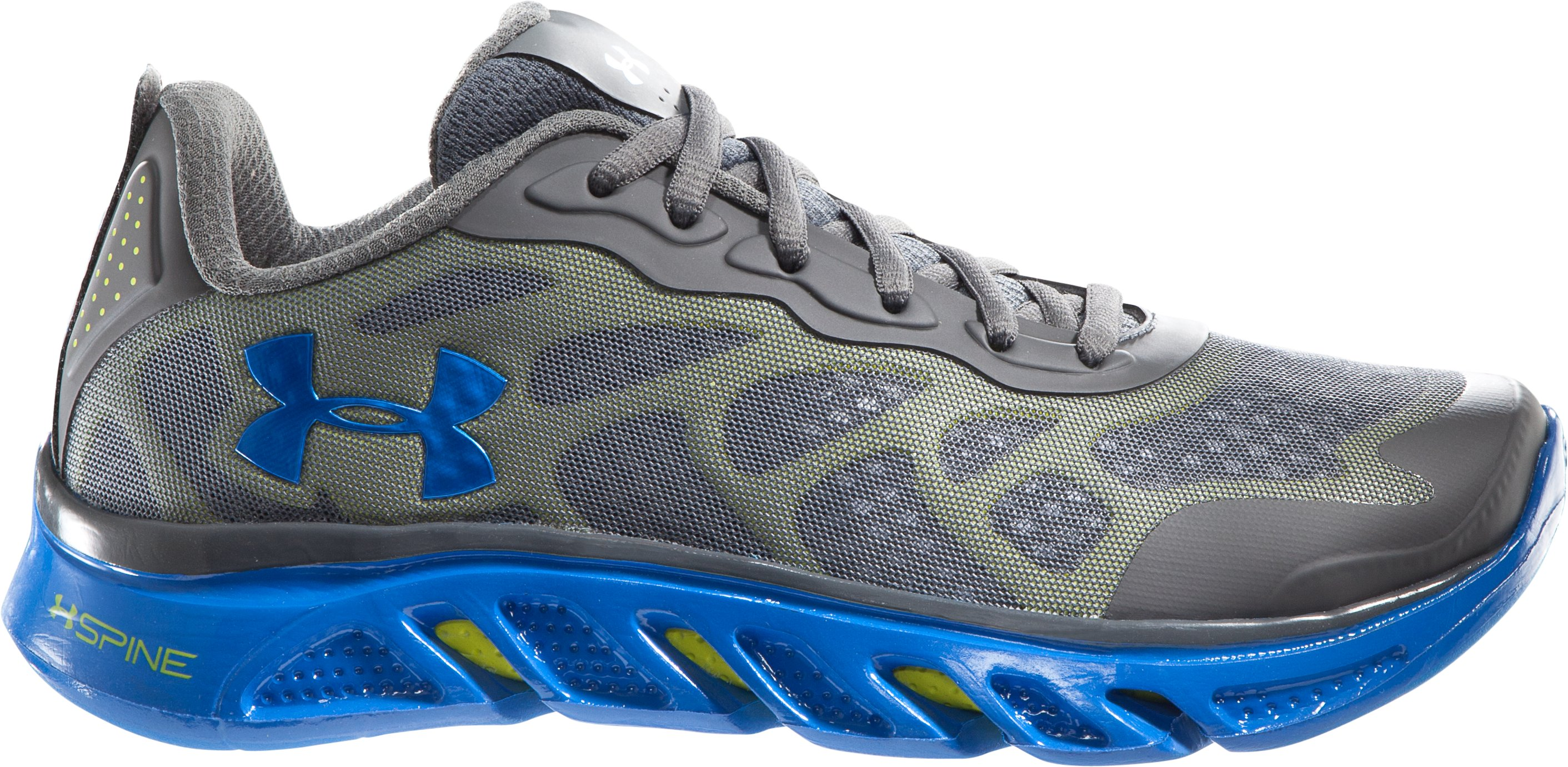 Boys' UA Spine™ Venom Grade School Running Shoes, Charcoal, zoomed image