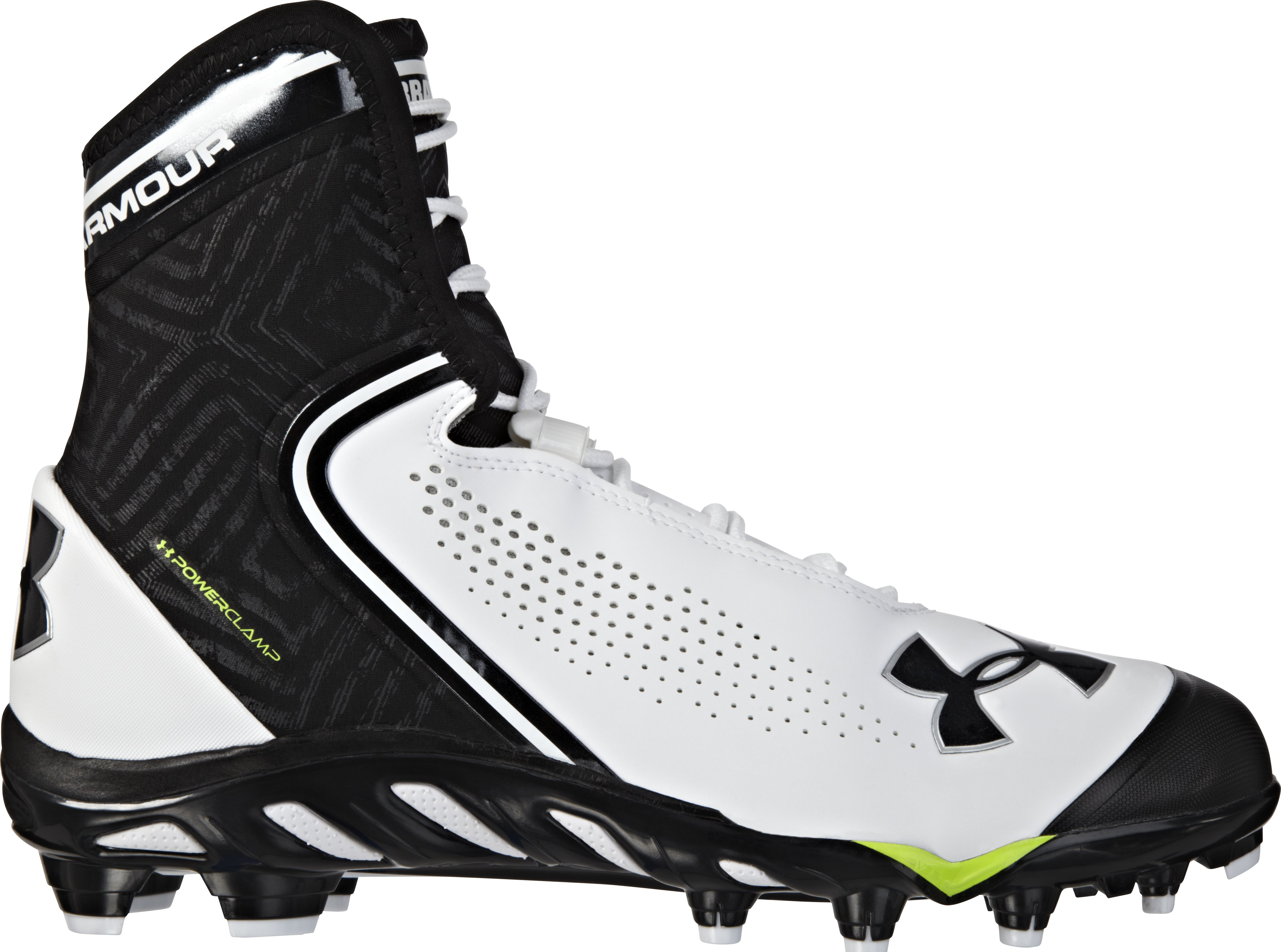Men's UA Spine™ Brawler Mid Football Cleats, White, zoomed image
