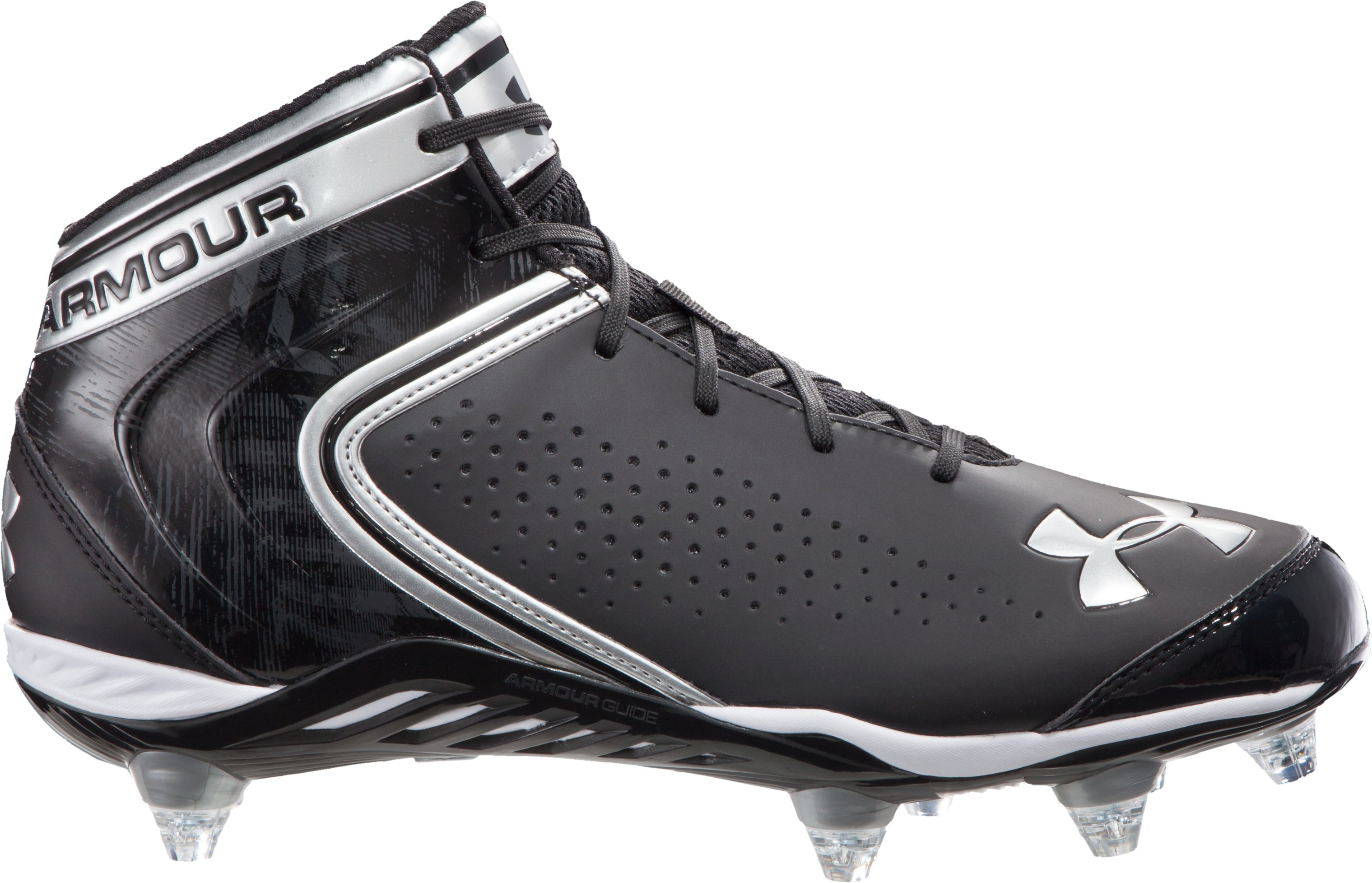 Men's UA Saber Mid D Football Cleats, Black , zoomed image