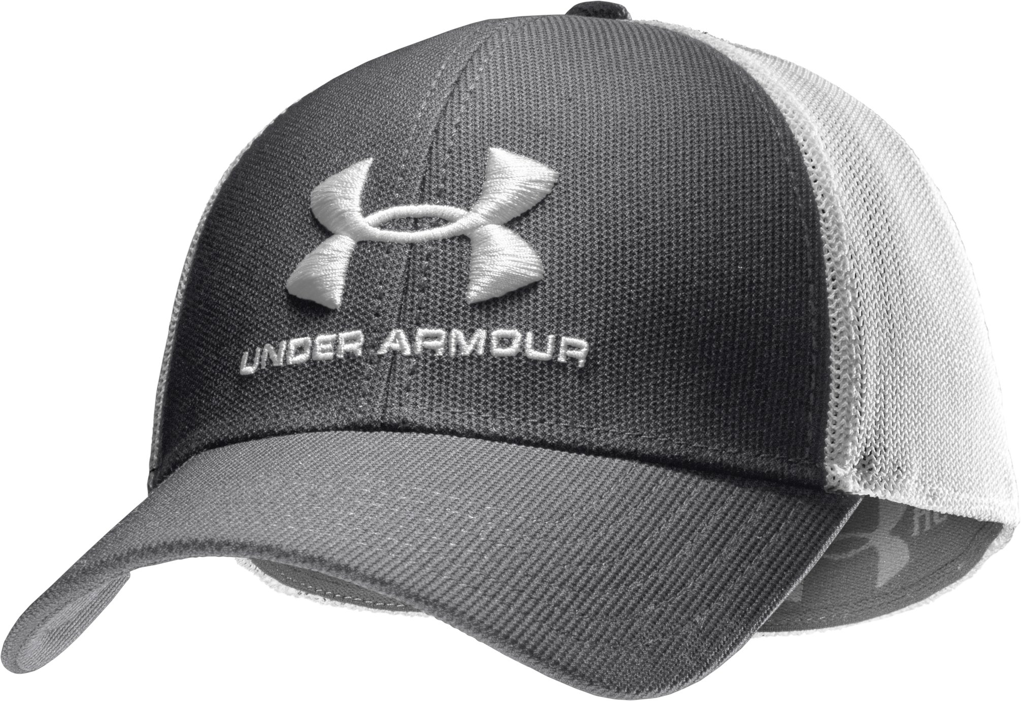 Men's UA Stealth Stretch Fit Cap, Graphite, zoomed image