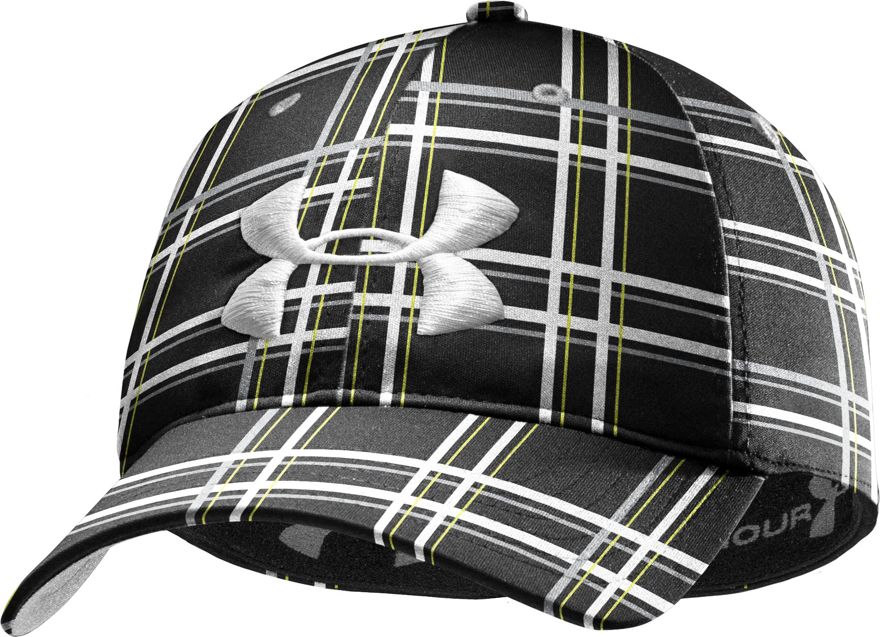 Men's UA Galaxy Plaid Stretch Fit Cap, Black , zoomed image