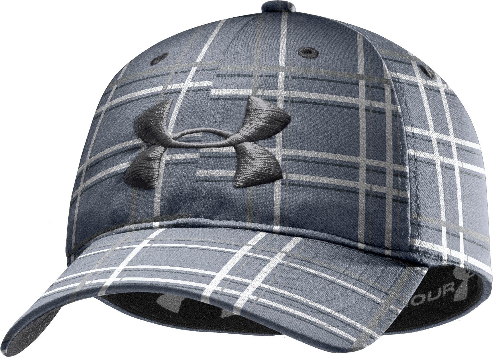 Men's UA Galaxy Plaid Stretch Fit Cap, Steel, zoomed image