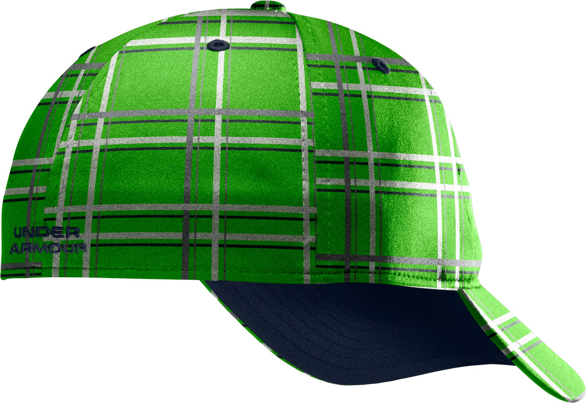 Men's UA Galaxy Plaid Stretch Fit Cap, PARROT GREEN, undefined