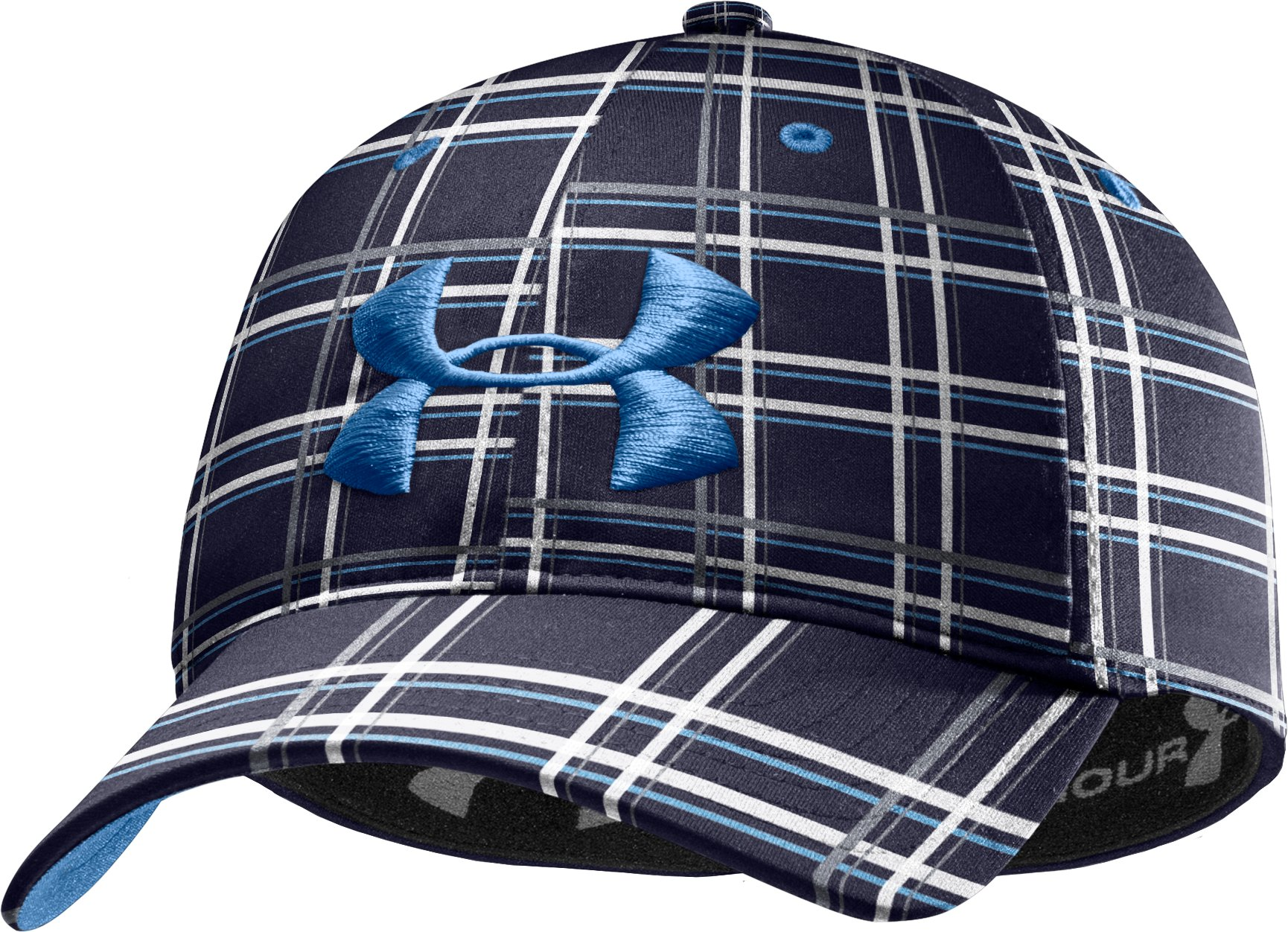 Men's UA Galaxy Plaid Stretch Fit Cap, Midnight Navy