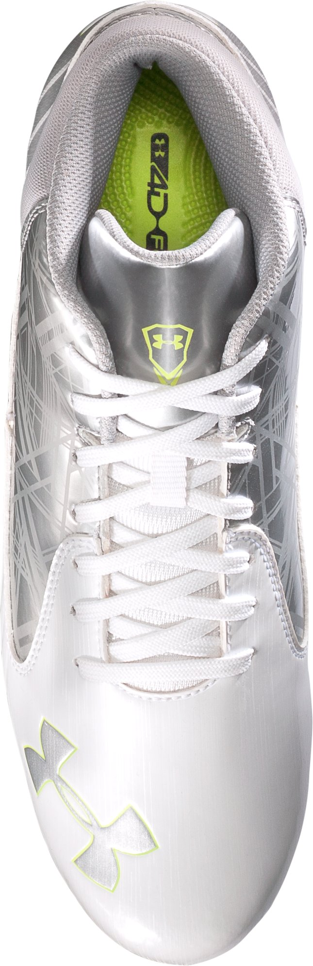 Men's UA Gauntlet Mid MC Lacrosse Cleats, White, undefined